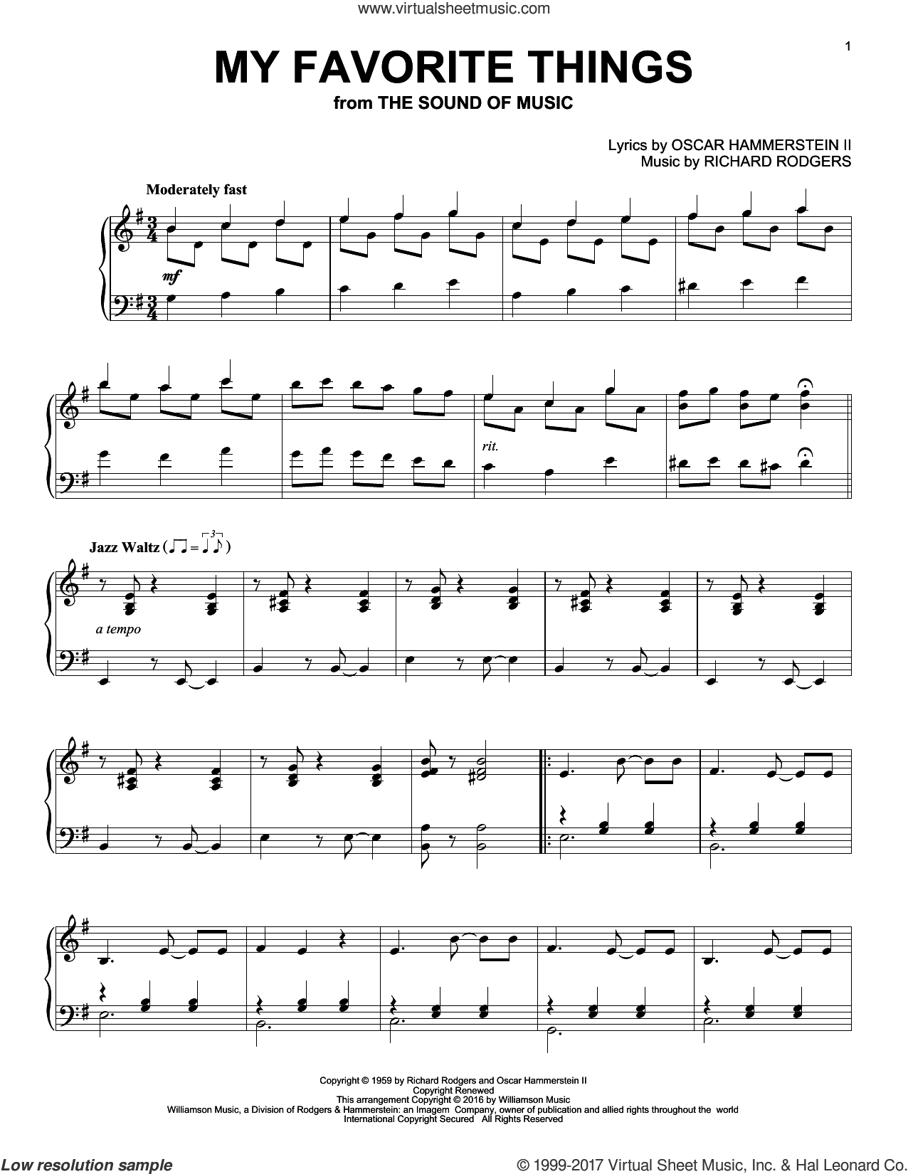 My Favorite Things sheet music for piano solo by Richard Rodgers and Oscar II Hammerstein, intermediate skill level