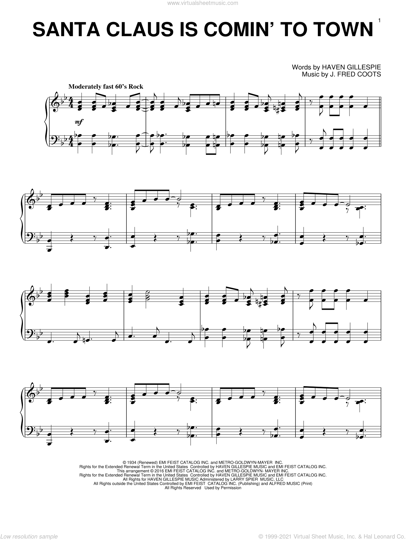 Santa Claus Is Comin' To Town sheet music for piano solo by J. Fred Coots, intermediate skill level
