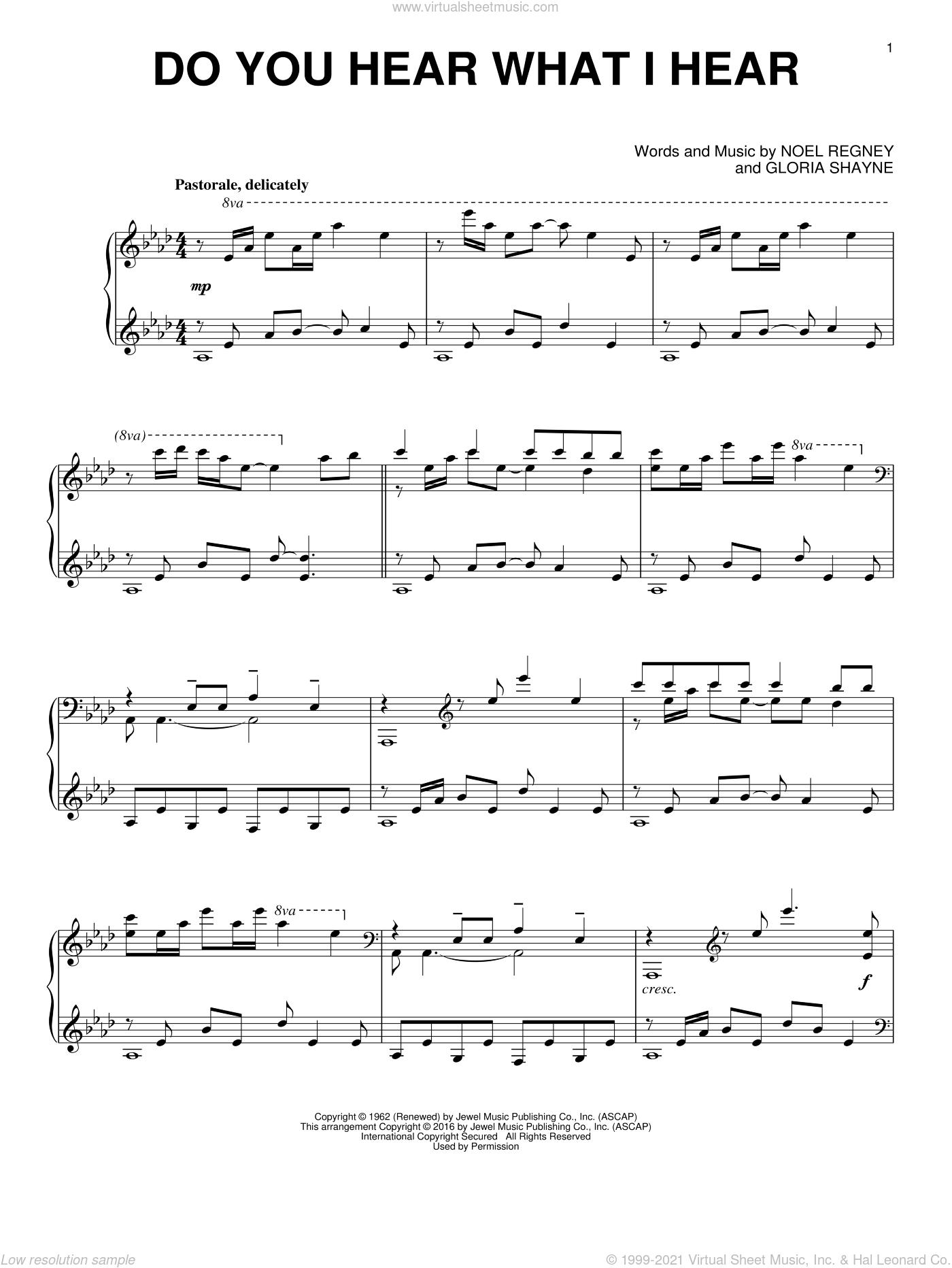 Do You Hear What I Hear sheet music for piano solo by Gloria Shayne, Carole King and Noel Regney, intermediate skill level