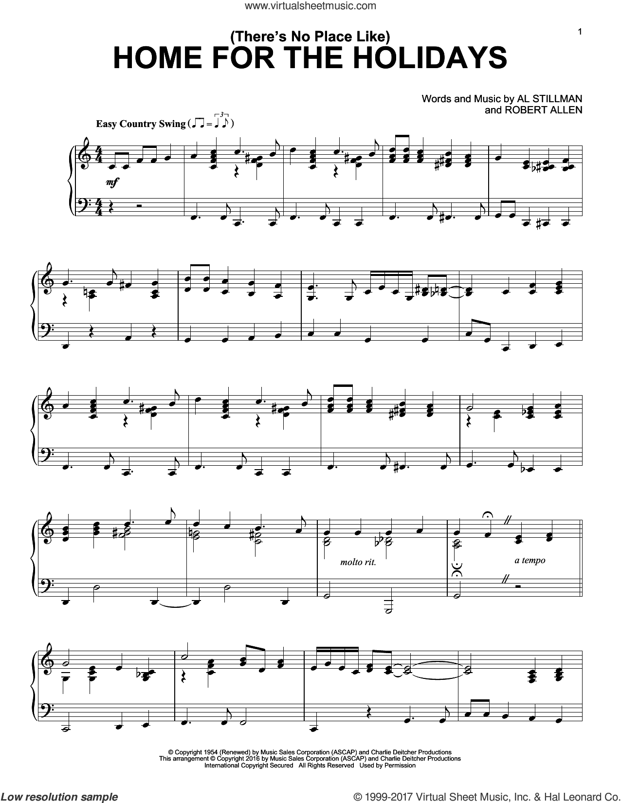 (There's No Place Like) Home For The Holidays sheet music for piano solo by Perry Como, Al Stillman and Robert Allen, intermediate skill level