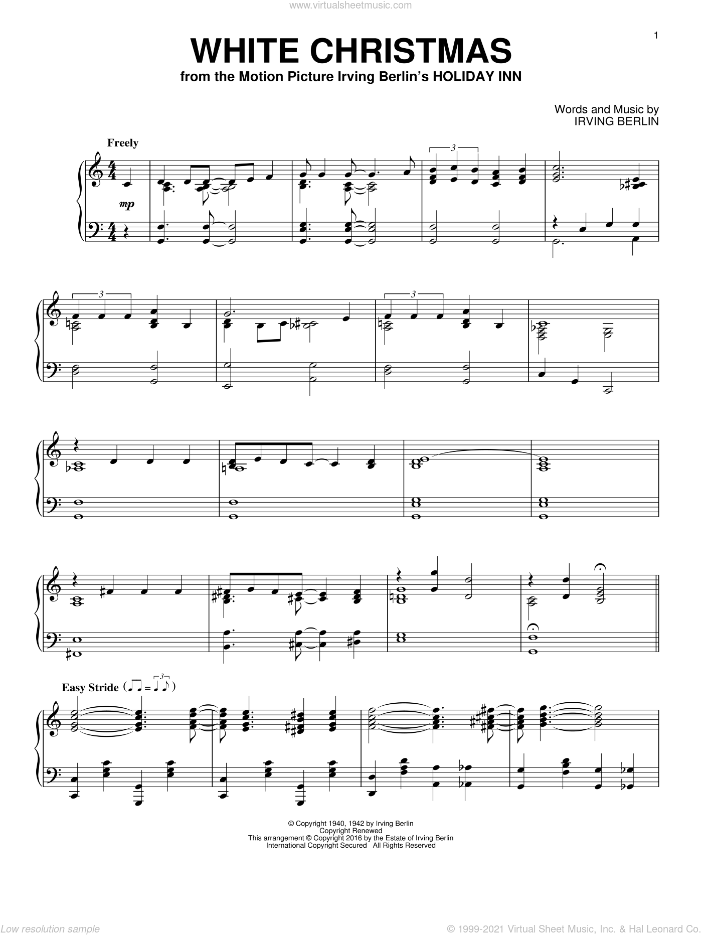 White Christmas, (intermediate) sheet music for piano solo by Irving Berlin, intermediate skill level