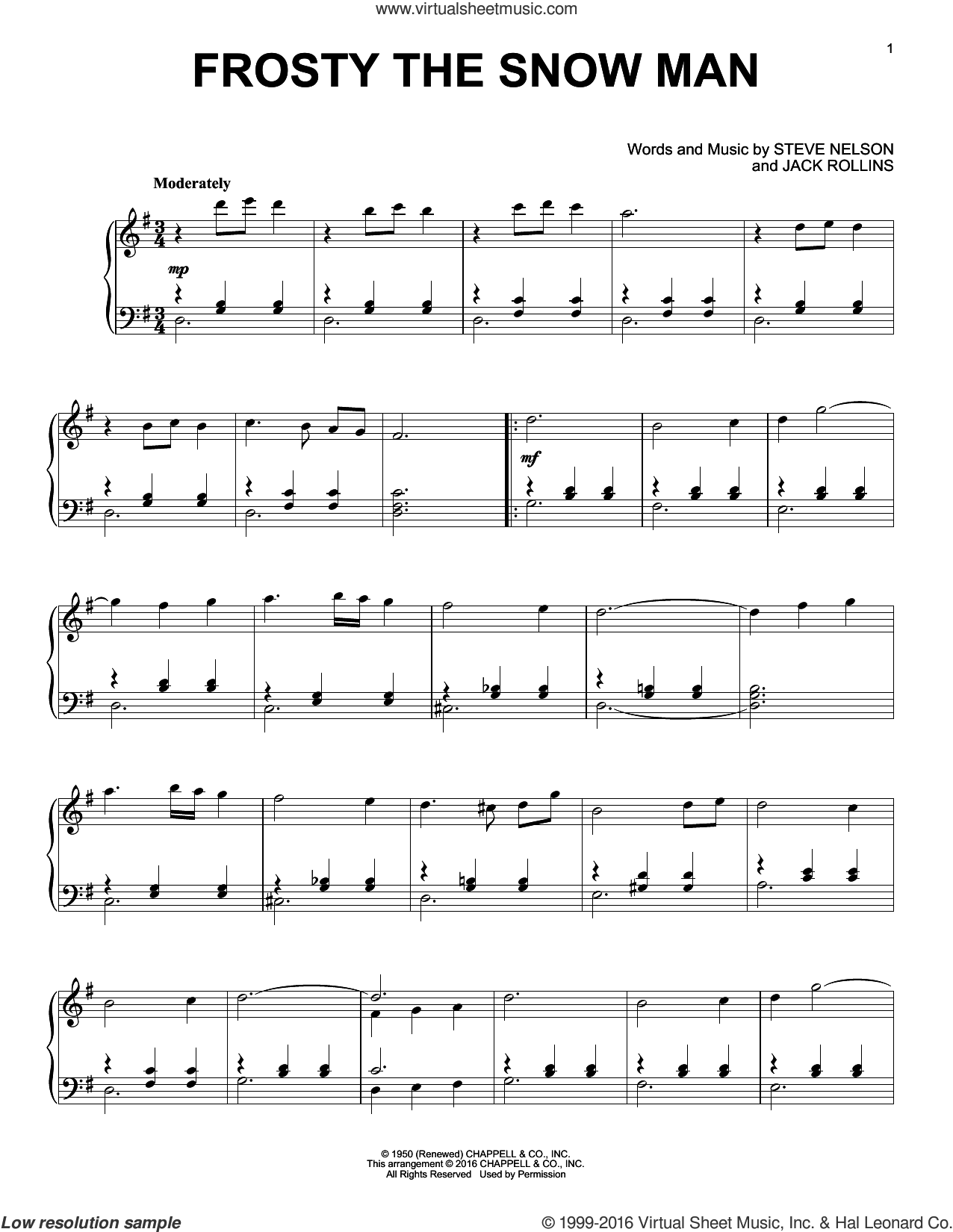 Frosty The Snow Man sheet music for piano solo by Gene Autry, Jack Rollins and Steve Nelson, intermediate skill level