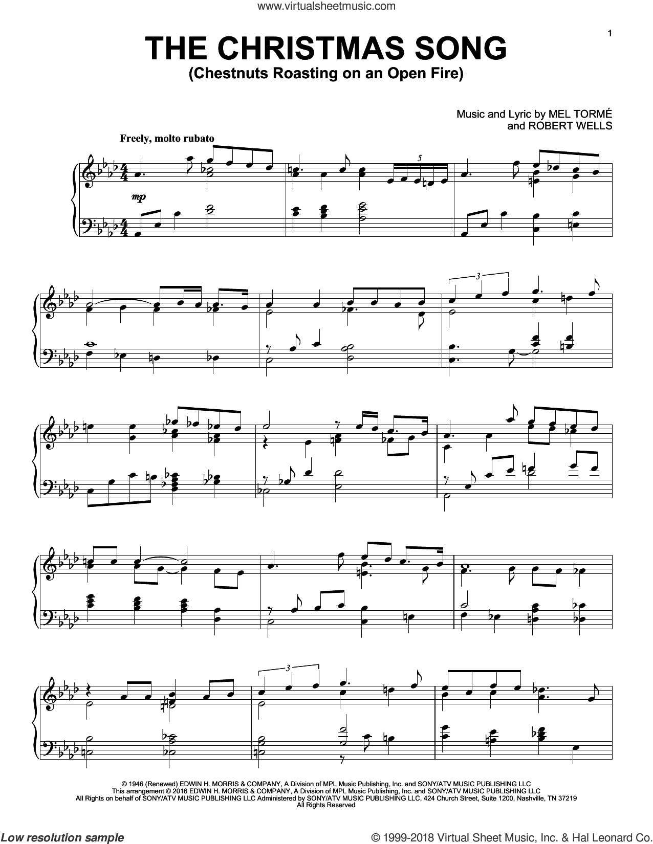 The Christmas Song (Chestnuts Roasting On An Open Fire) sheet music for piano solo by Mel Tormé, King Cole Trio, Mel Torme and Robert Wells, intermediate skill level