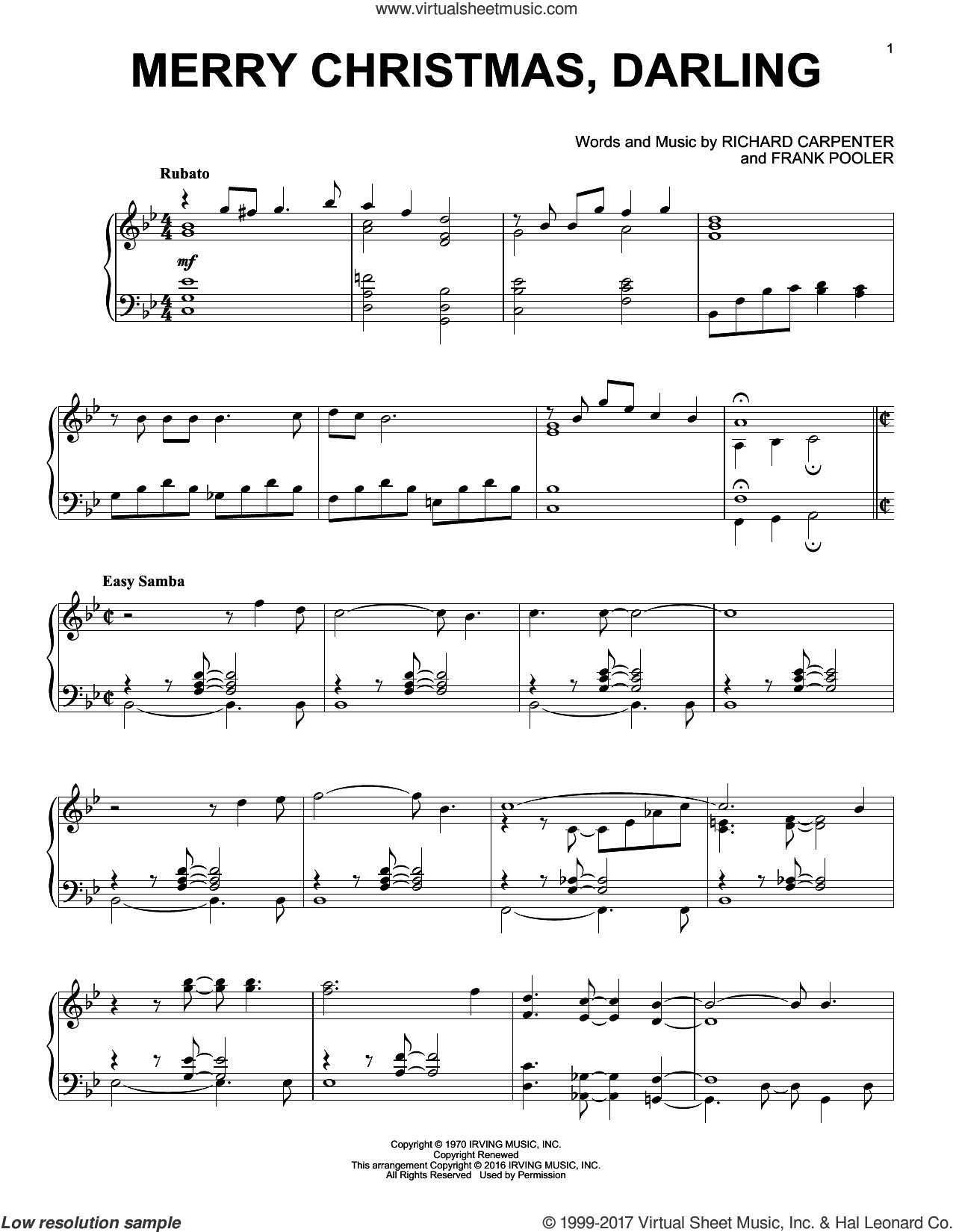 Merry Christmas, Darling sheet music for piano solo by Frank Pooler, Carpenters and Richard Carpenter, intermediate skill level