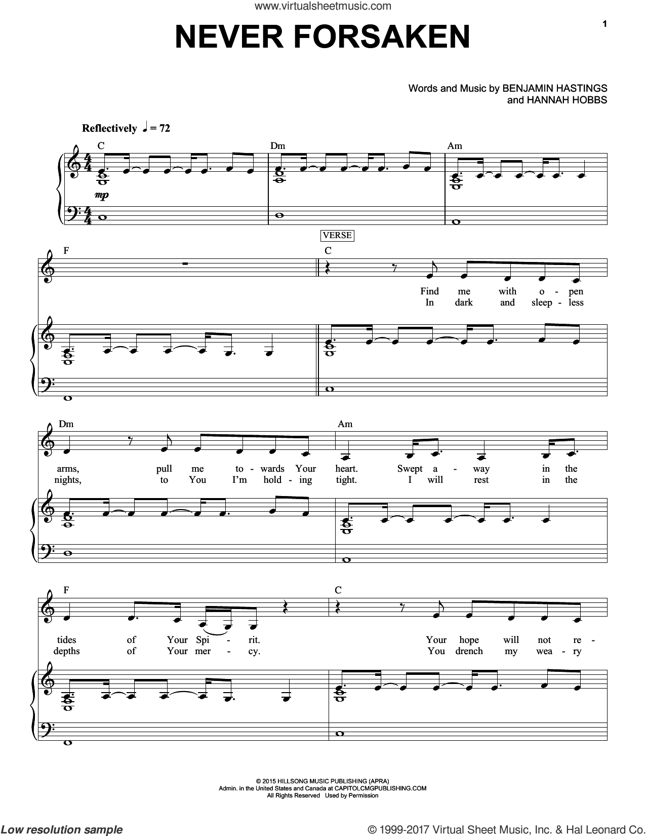 Never Forsaken sheet music for voice and piano by Hillsong Worship, Benjamin Hastings and Hannah Hobbs, intermediate skill level