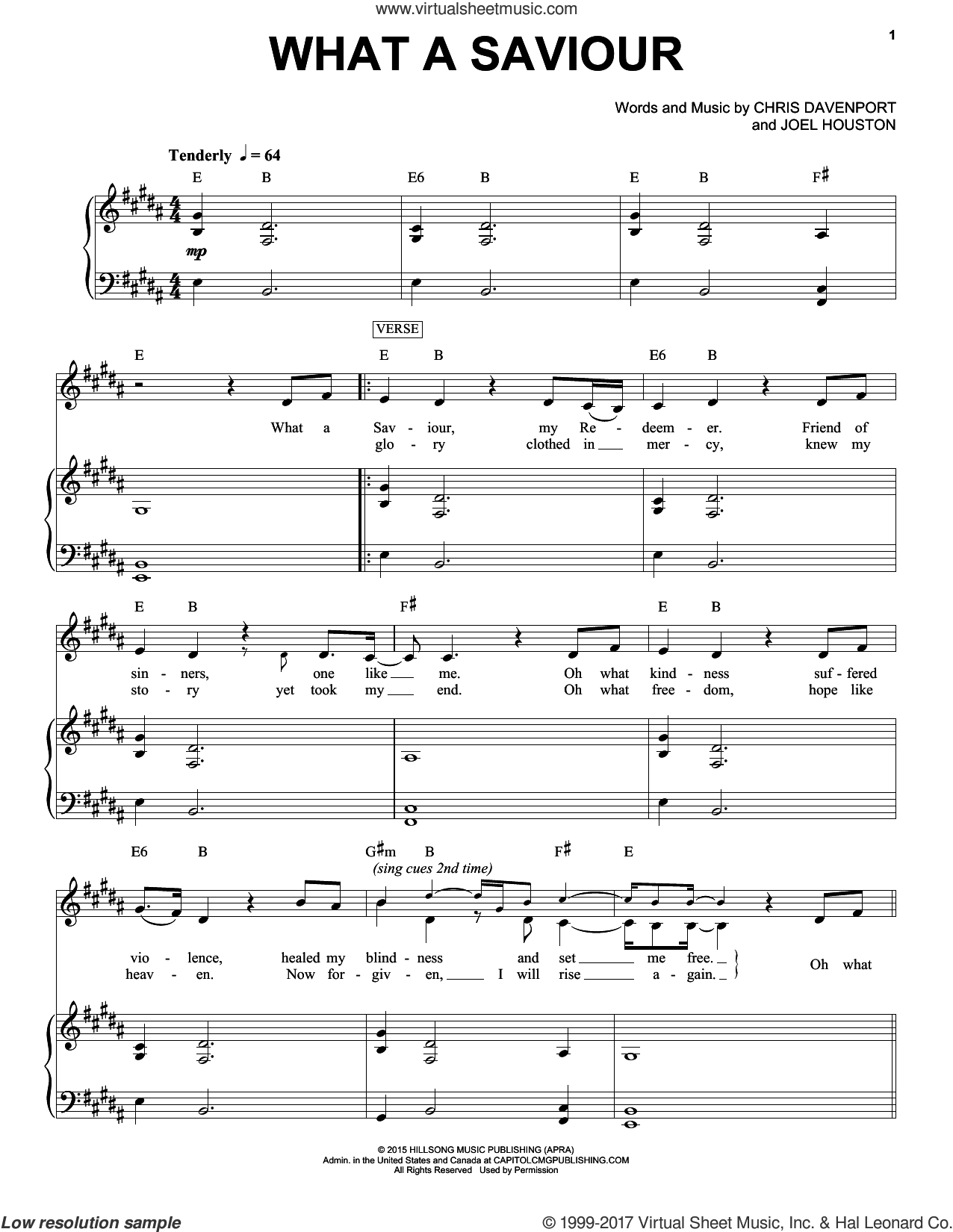 What A Saviour sheet music for voice and piano by Hillsong Worship, Chris Davenport and Joel Houston, intermediate skill level