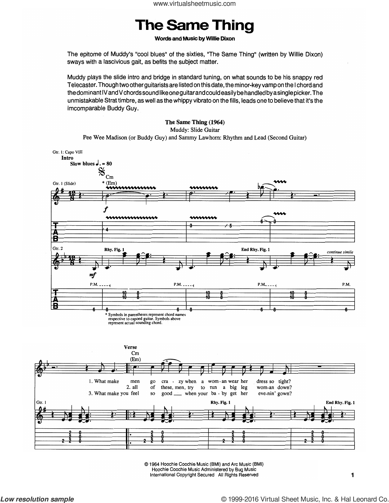 The Same Thing sheet music for guitar (tablature) by Muddy Waters, Buddy Guy, Pee Wee Madison, Sammy Lawhorn and Willie Dixon, intermediate. Score Image Preview.