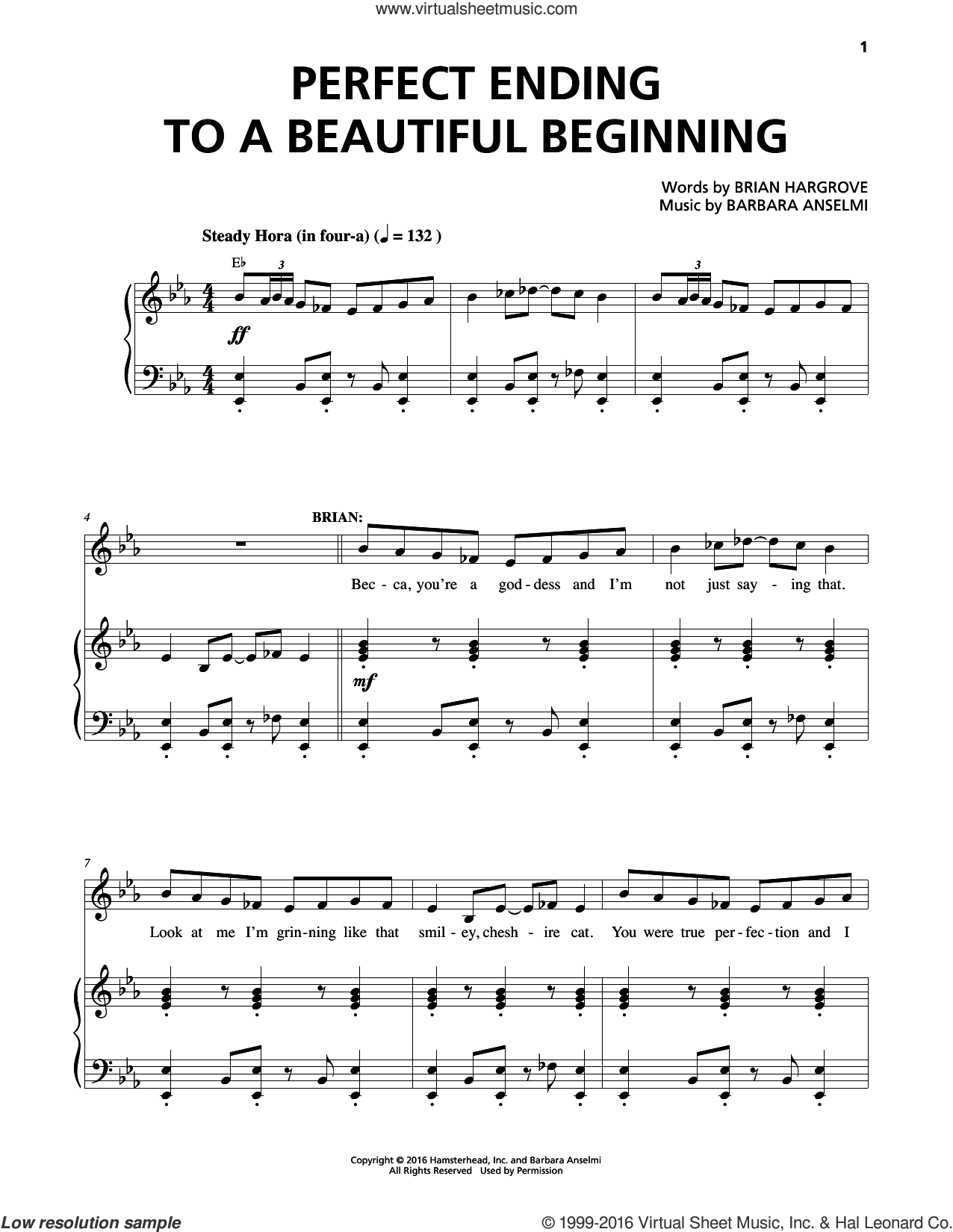 Perfect Ending To A Beautiful Beginning sheet music for voice and piano by Full Shoulda Company, Barbara Anselmi, Barbara Anselmi and Brian Hargrove, Brian Hargrove and Lisa Howard, intermediate skill level