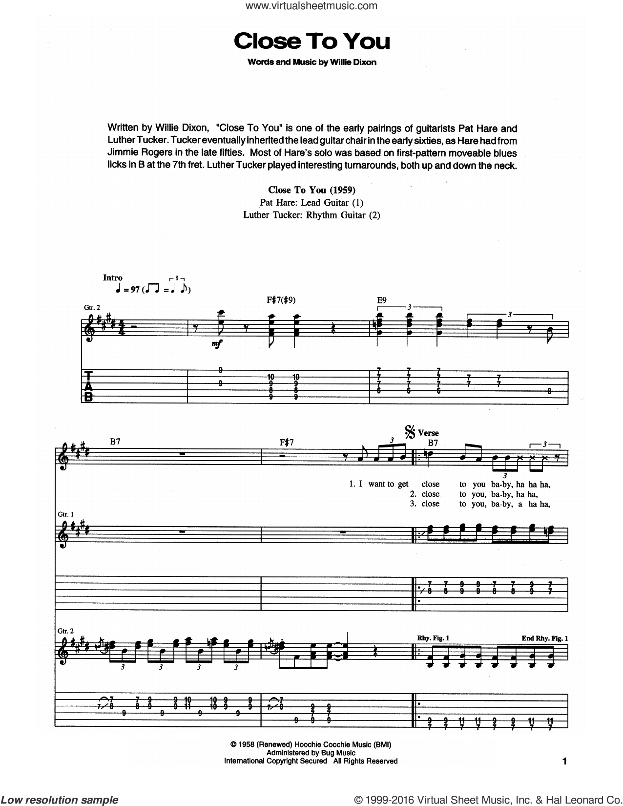 Close To You (I Wanna Get) sheet music for guitar (tablature) by Muddy Waters and Willie Dixon, intermediate guitar (tablature). Score Image Preview.
