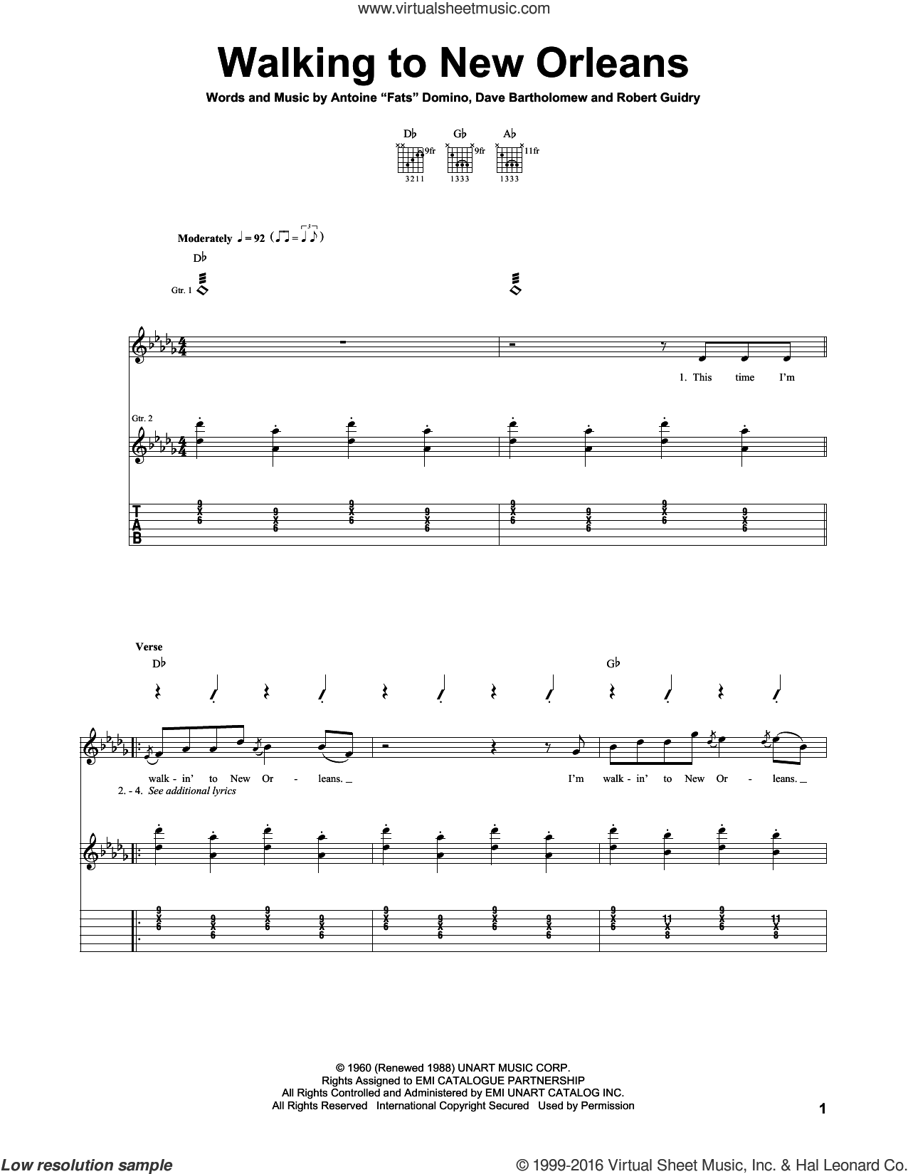 Walking To New Orleans sheet music for guitar (tablature) by Fats Domino and Dave Bartholomew. Score Image Preview.