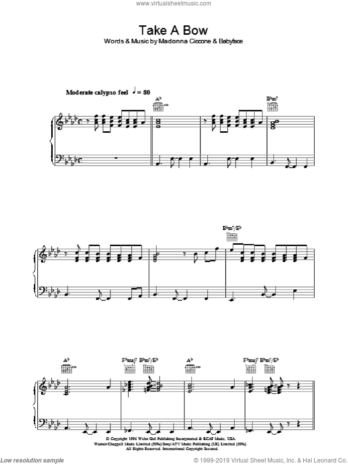 Take A Bow sheet music for voice, piano or guitar by Madonna and Babyface, intermediate skill level