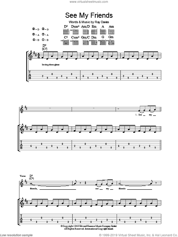 See My Friends sheet music for guitar (tablature) by The Kinks and Ray Davies. Score Image Preview.