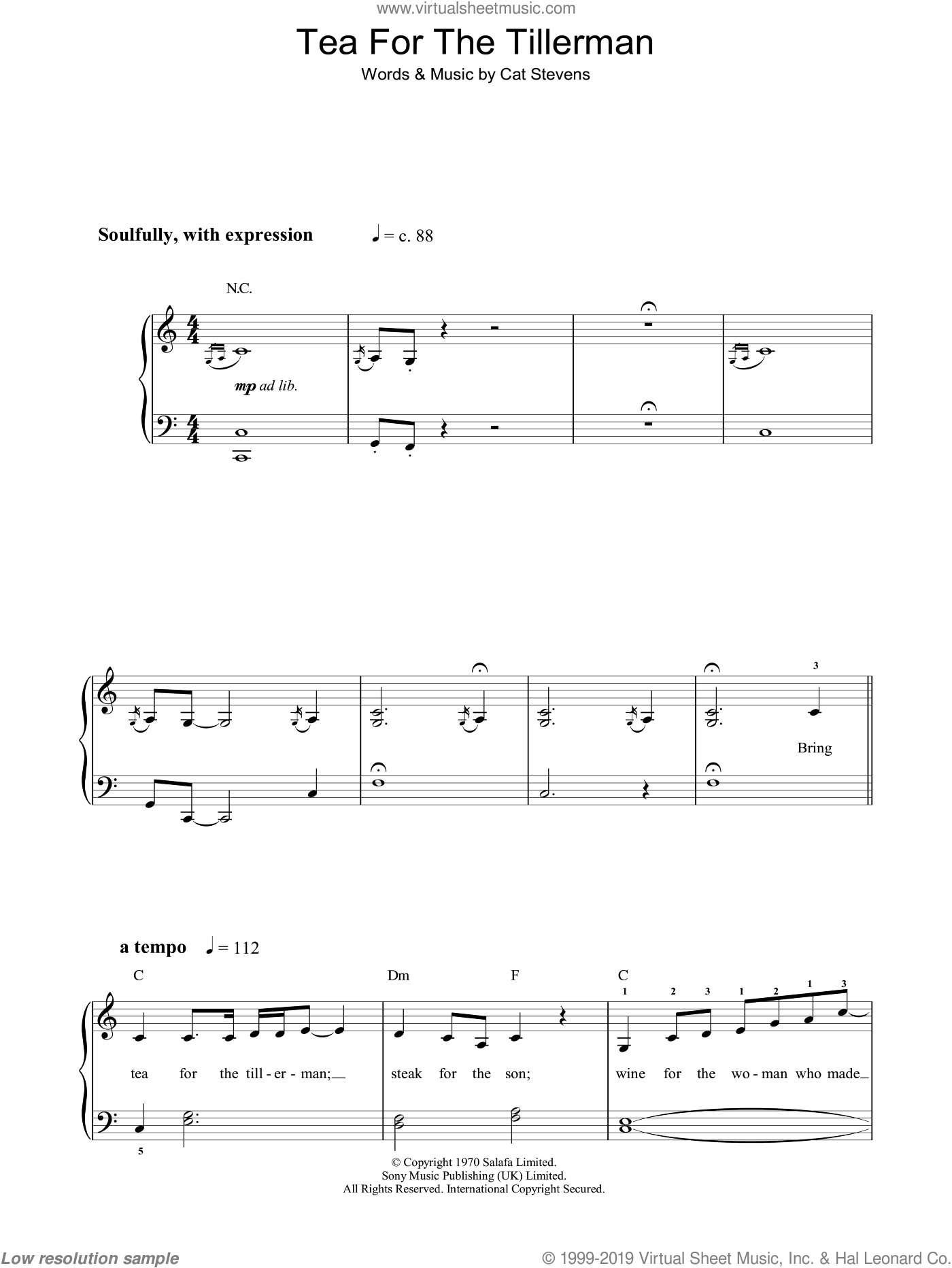 Tea For The Tillerman sheet music for piano solo by Cat Stevens. Score Image Preview.