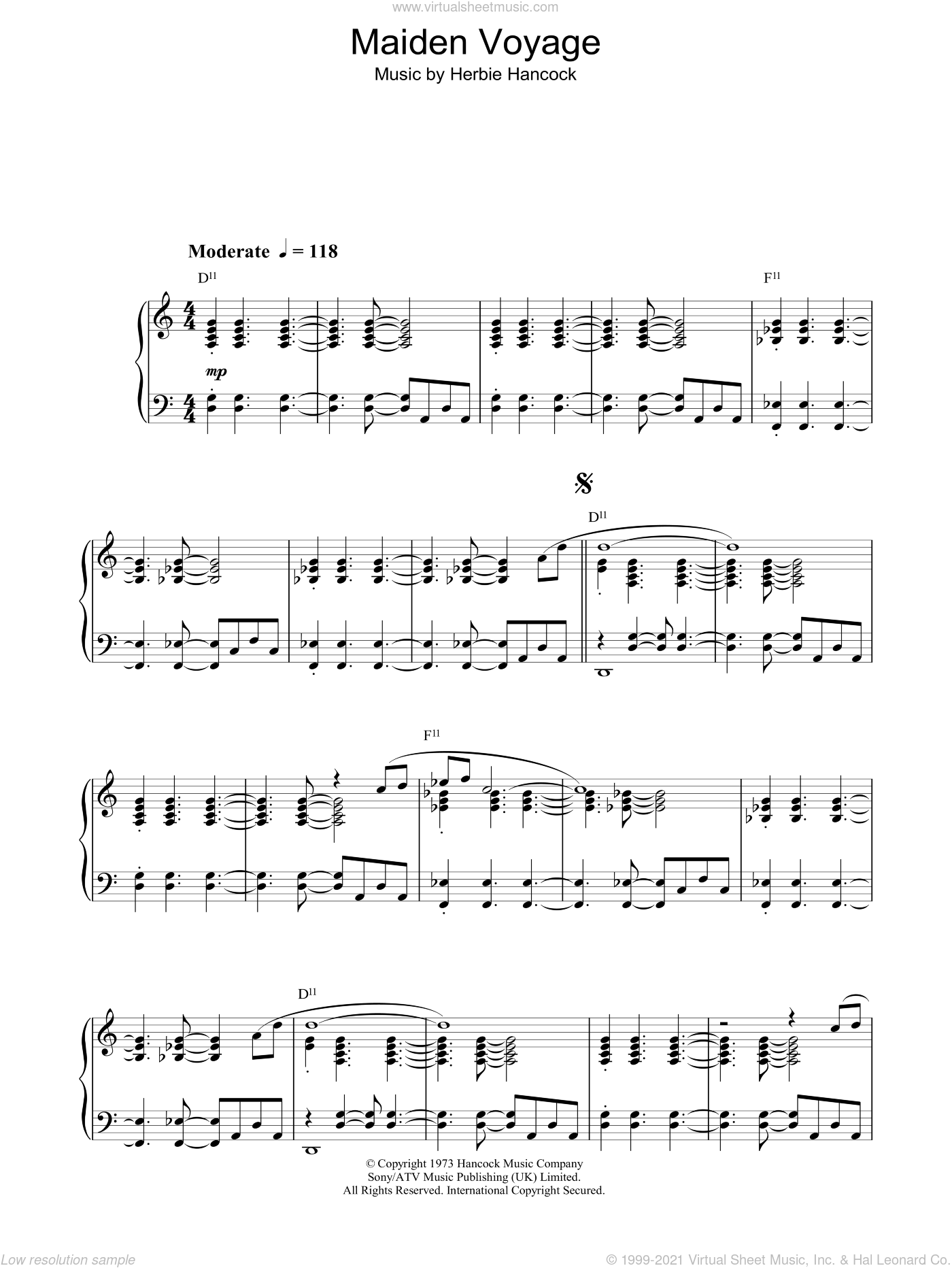 Maiden Voyage sheet music for piano solo by Herbie Hancock, intermediate skill level