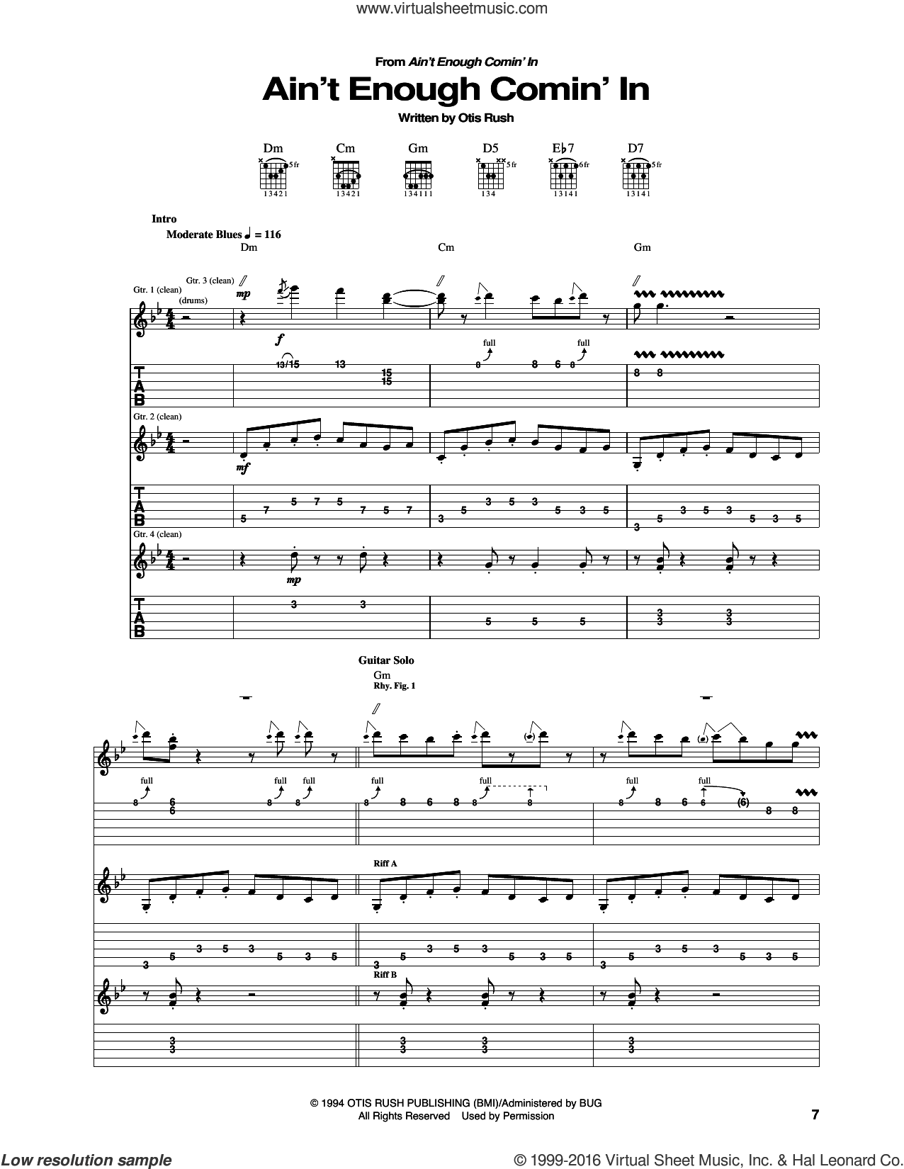 Ain't Enough Comin' In sheet music for guitar (tablature) by Otis Rush, intermediate. Score Image Preview.
