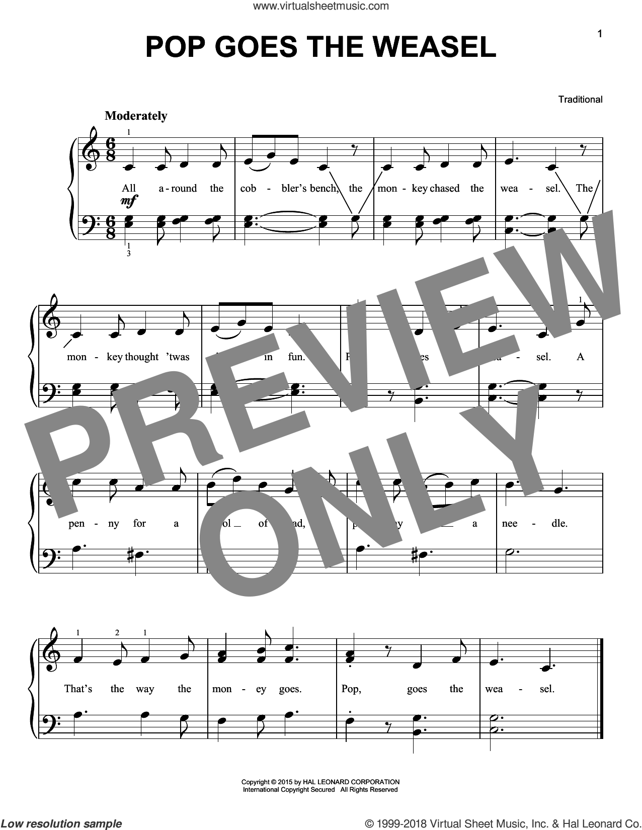 Pop Goes The Weasel sheet music for piano solo, beginner skill level