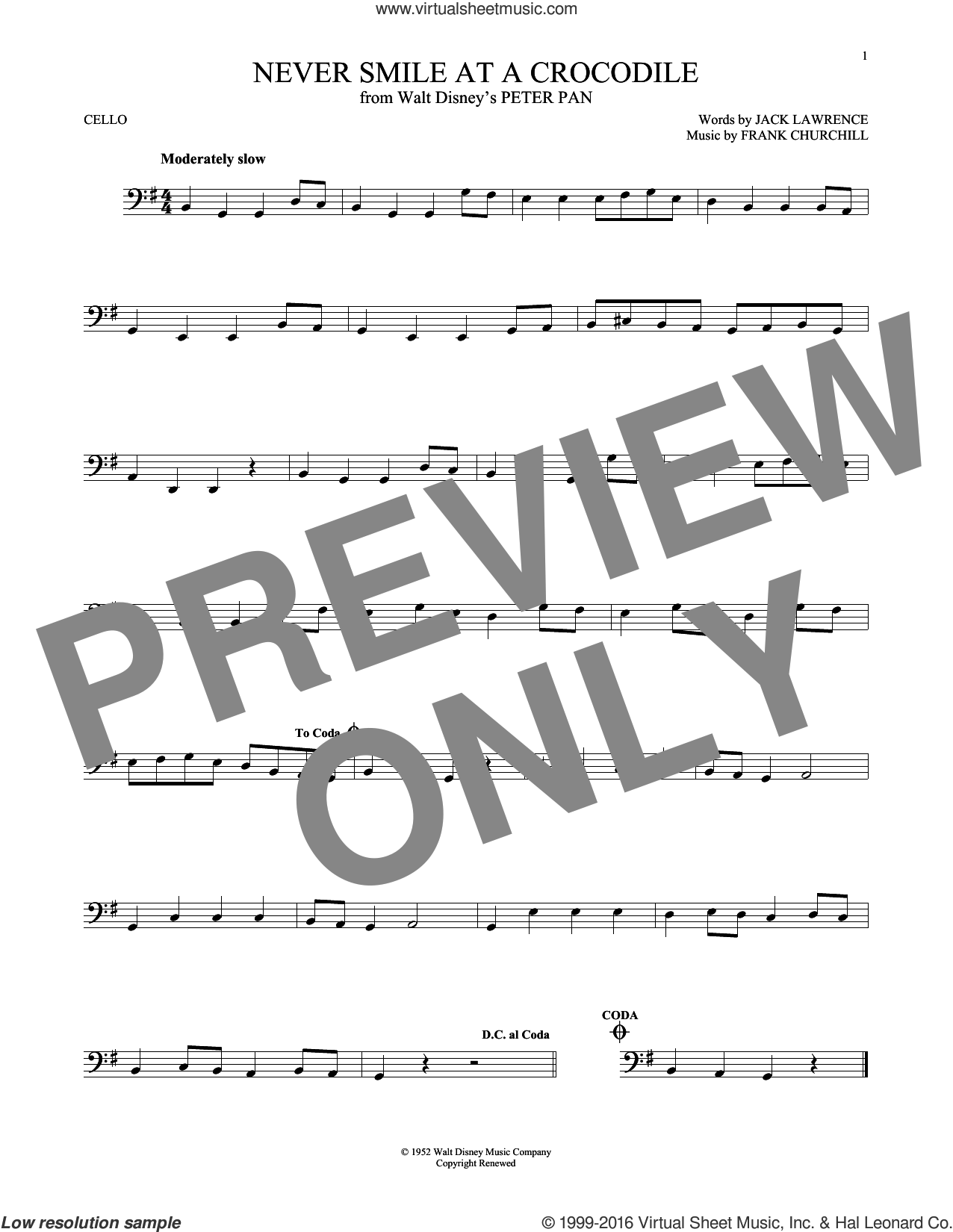 Never Smile At A Crocodile sheet music for cello solo by Jack Lawrence and Frank Churchill, intermediate cello. Score Image Preview.