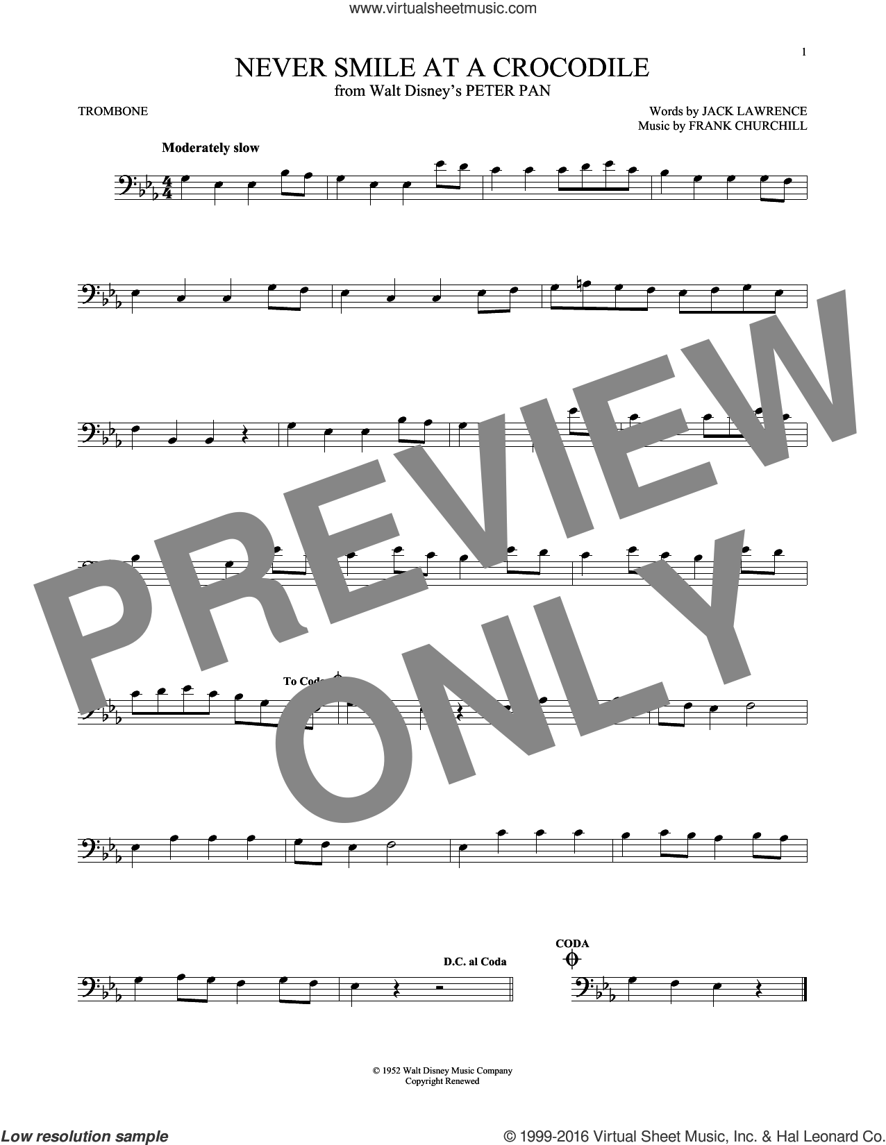 Never Smile At A Crocodile sheet music for trombone solo by Jack Lawrence and Frank Churchill, intermediate skill level