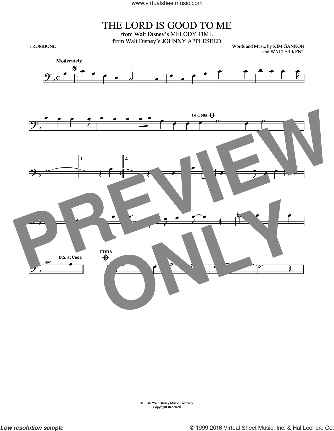 The Lord Is Good To Me sheet music for trombone solo by Kim Gannon and Walter Kent, intermediate skill level