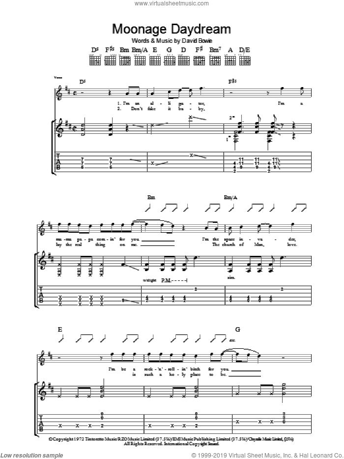 Moonage Daydream sheet music for guitar (tablature) by David Bowie. Score Image Preview.