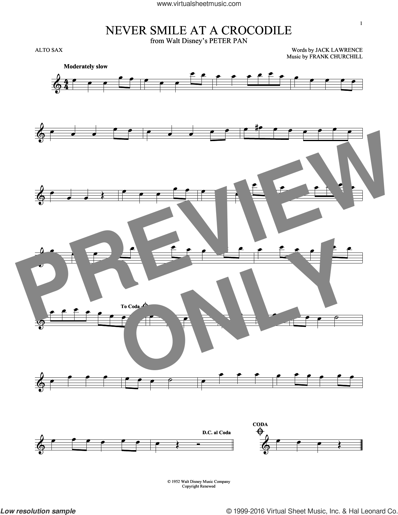 Never Smile At A Crocodile sheet music for alto saxophone solo by Jack Lawrence