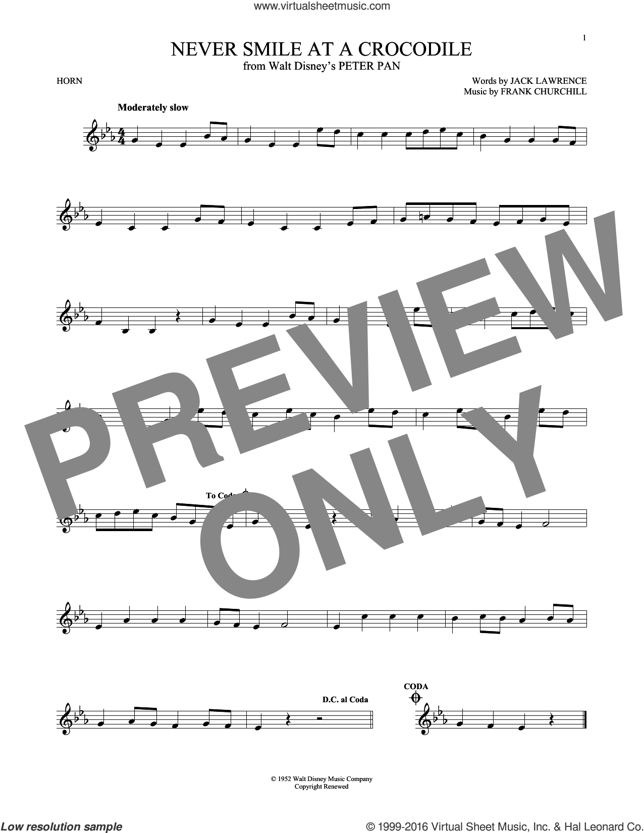 Never Smile At A Crocodile sheet music for horn solo by Jack Lawrence and Frank Churchill, intermediate skill level
