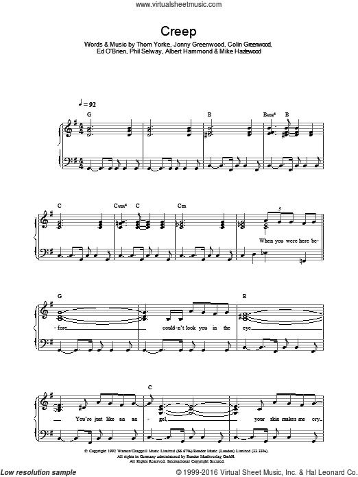 Creep sheet music for voice, piano or guitar by Radiohead, Albert Hammond, Colin Greenwood, Michael Hazlewood and Thom Yorke. Score Image Preview.