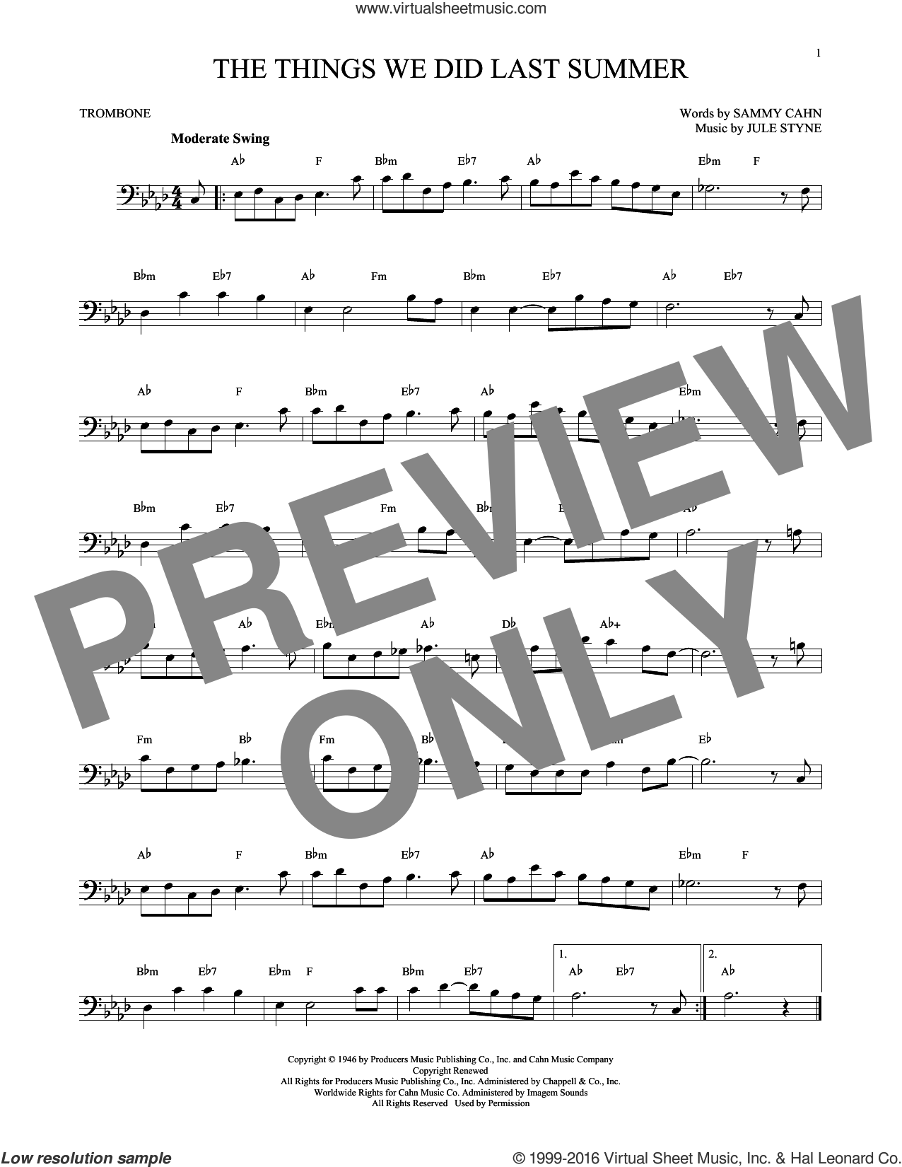 The Things We Did Last Summer sheet music for trombone solo by Sammy Cahn and Jule Styne, intermediate skill level