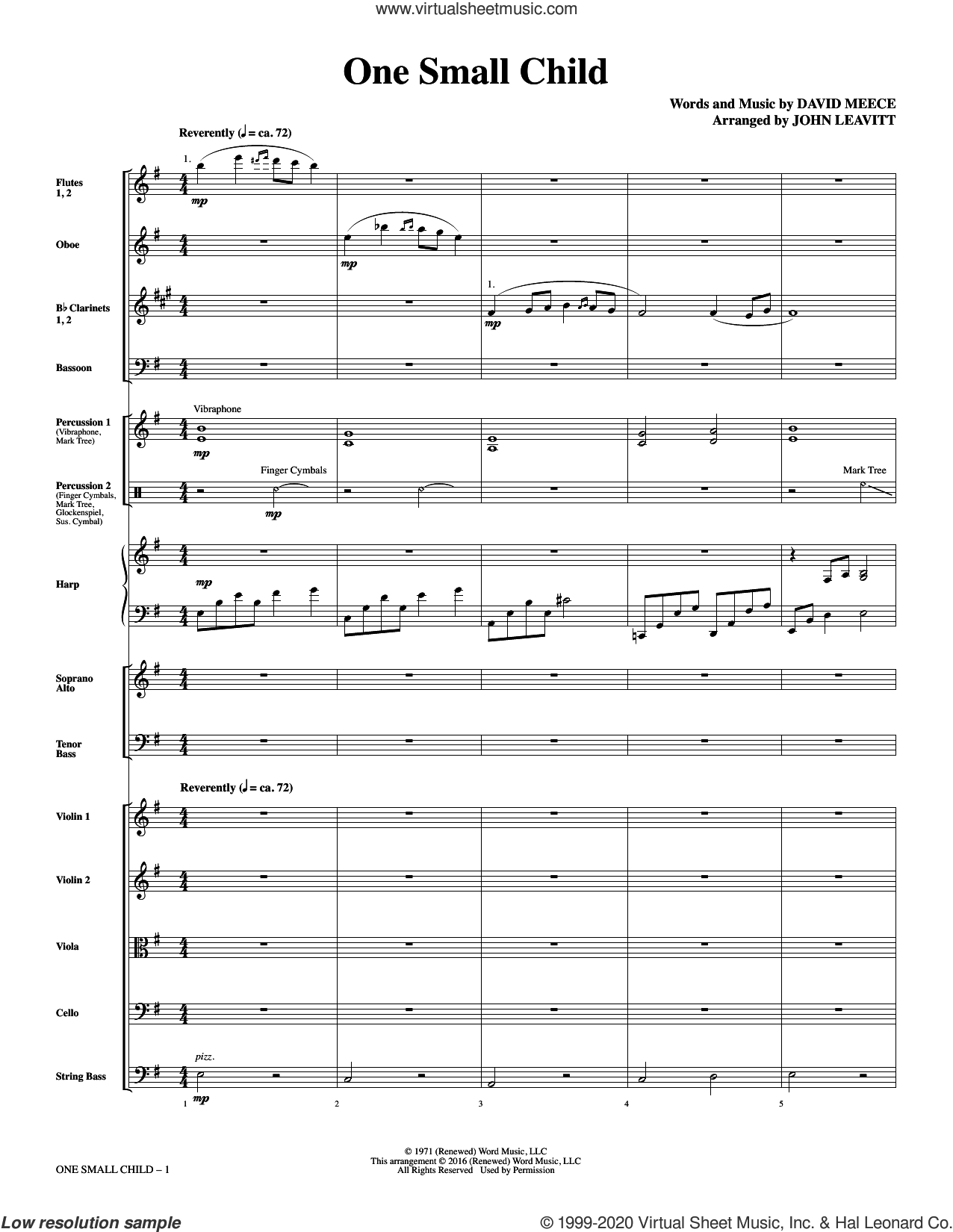 One Small Child (COMPLETE) sheet music for orchestra/band (chamber ensemble) by John Leavitt and David Meece, intermediate skill level