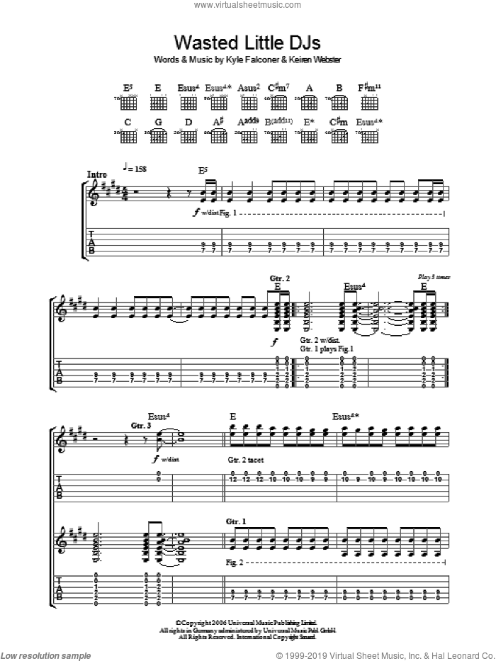 Wasted Little DJs sheet music for guitar (tablature) by The View. Score Image Preview.