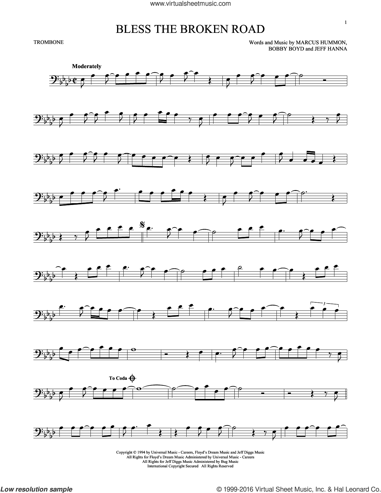 Bless The Broken Road sheet music for trombone solo by Rascal Flatts and Marcus Hummon. Score Image Preview.