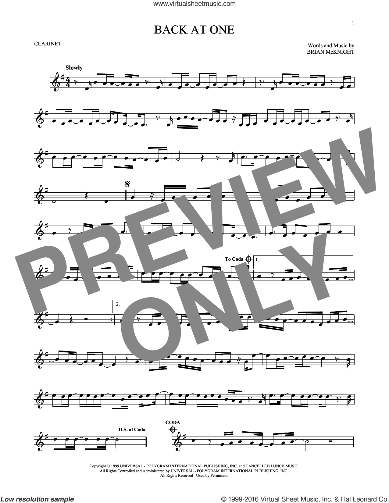 Back At One sheet music for clarinet solo by Brian McKnight, intermediate skill level