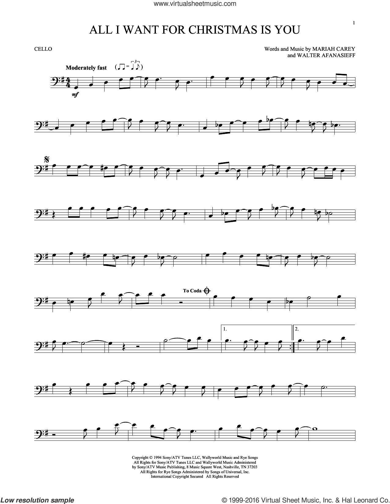 All I Want For Christmas Is You sheet music for cello solo by Mariah Carey and Walter Afanasieff, intermediate skill level