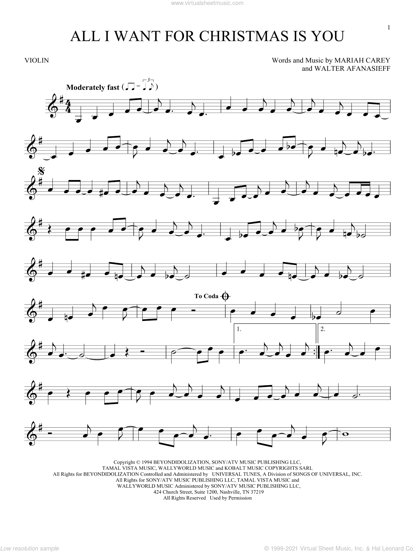 Carey - All I Want For Christmas Is You sheet music for violin solo