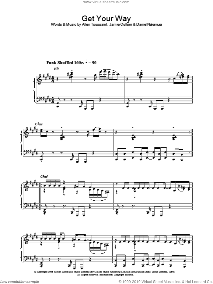 Get Your Way sheet music for piano solo by Allen Toussaint and Jamie Cullum. Score Image Preview.
