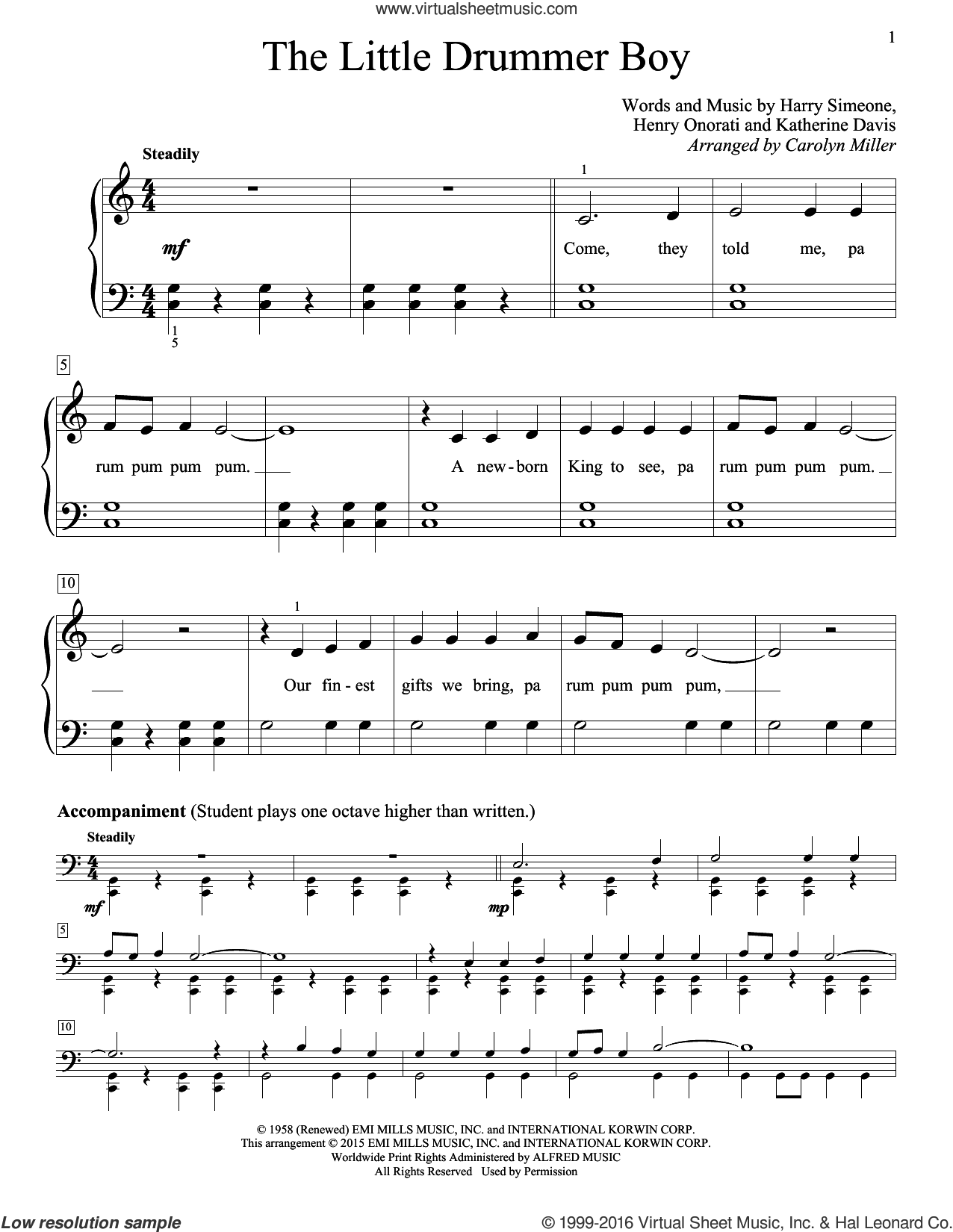 The Little Drummer Boy sheet music for piano solo (elementary) by Carolyn Miller, beginner piano (elementary). Score Image Preview.