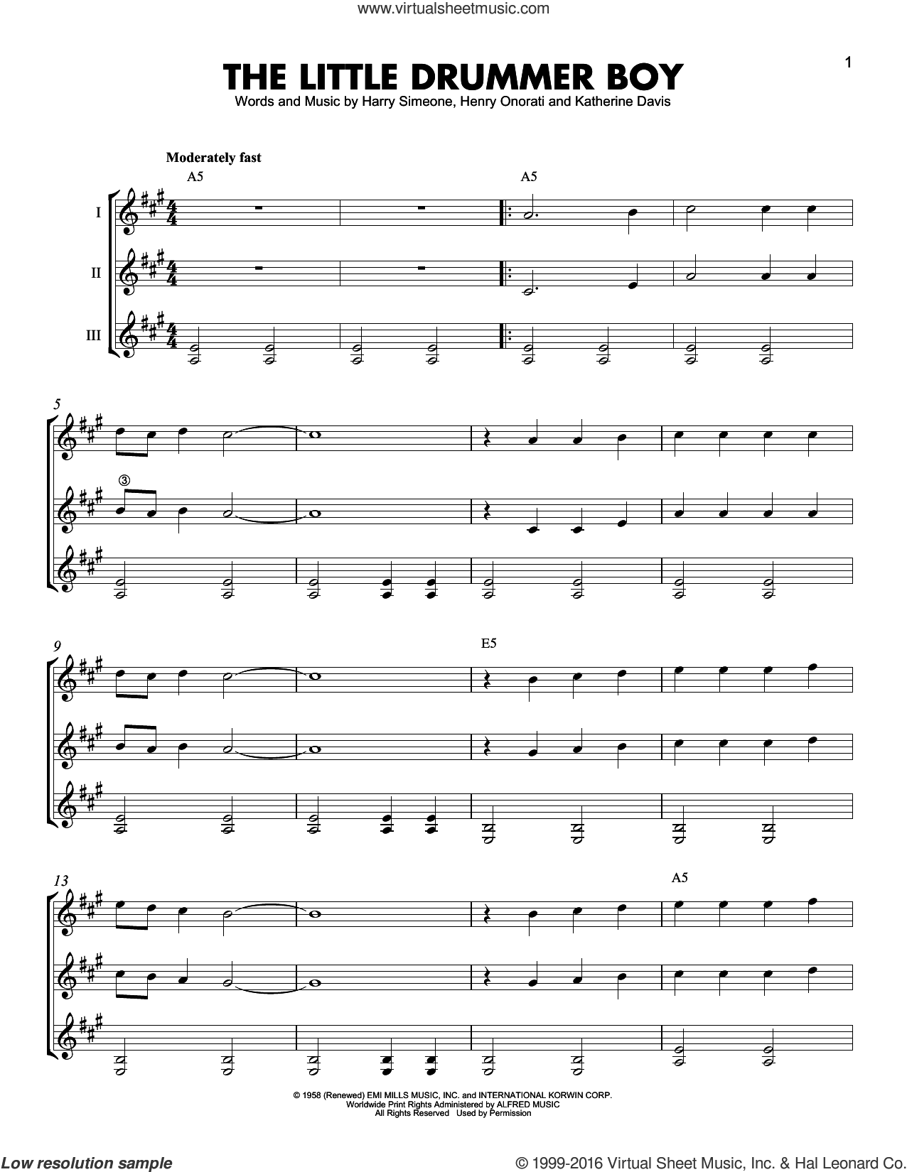 The Little Drummer Boy sheet music for guitar ensemble by Harry Simeone and Henry Onorati, intermediate skill level
