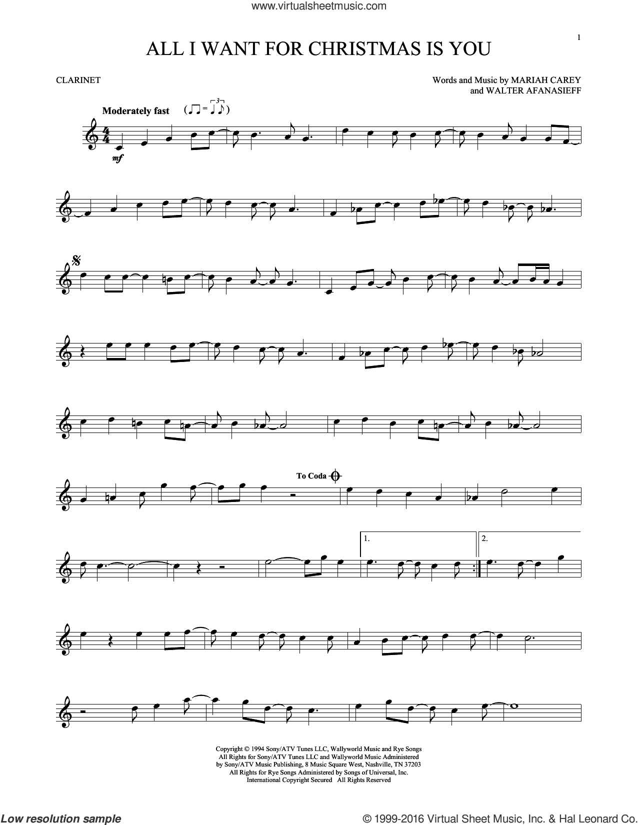 All I Want For Christmas Is You sheet music for clarinet solo by Mariah Carey and Walter Afanasieff, intermediate. Score Image Preview.