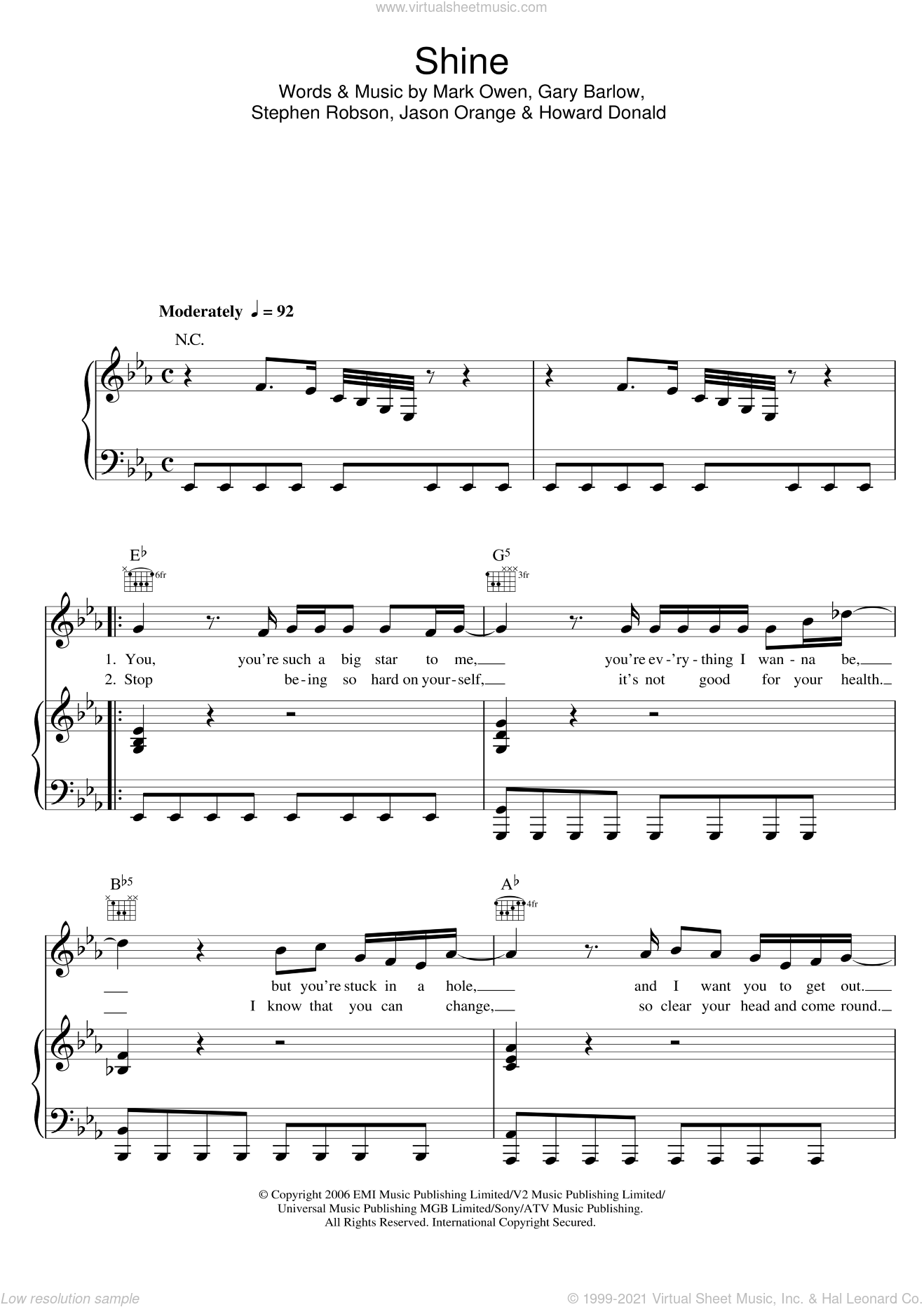 Shine sheet music for voice, piano or guitar by Gary Barlow, Take That, Mark Owen and Steve Robson. Score Image Preview.