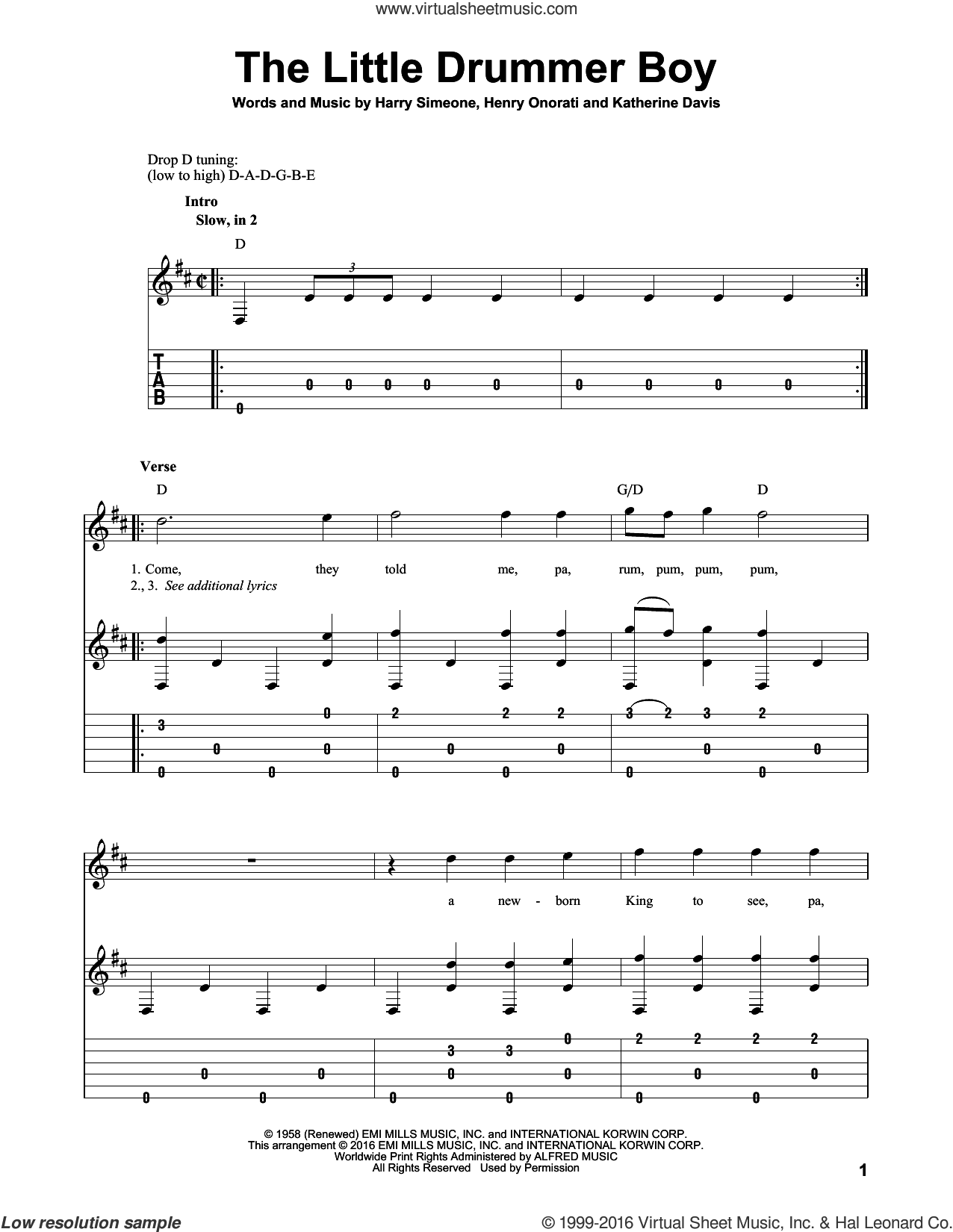 The Little Drummer Boy sheet music for guitar solo by Katherine Davis, Harry Simeone and Henry Onorati. Score Image Preview.