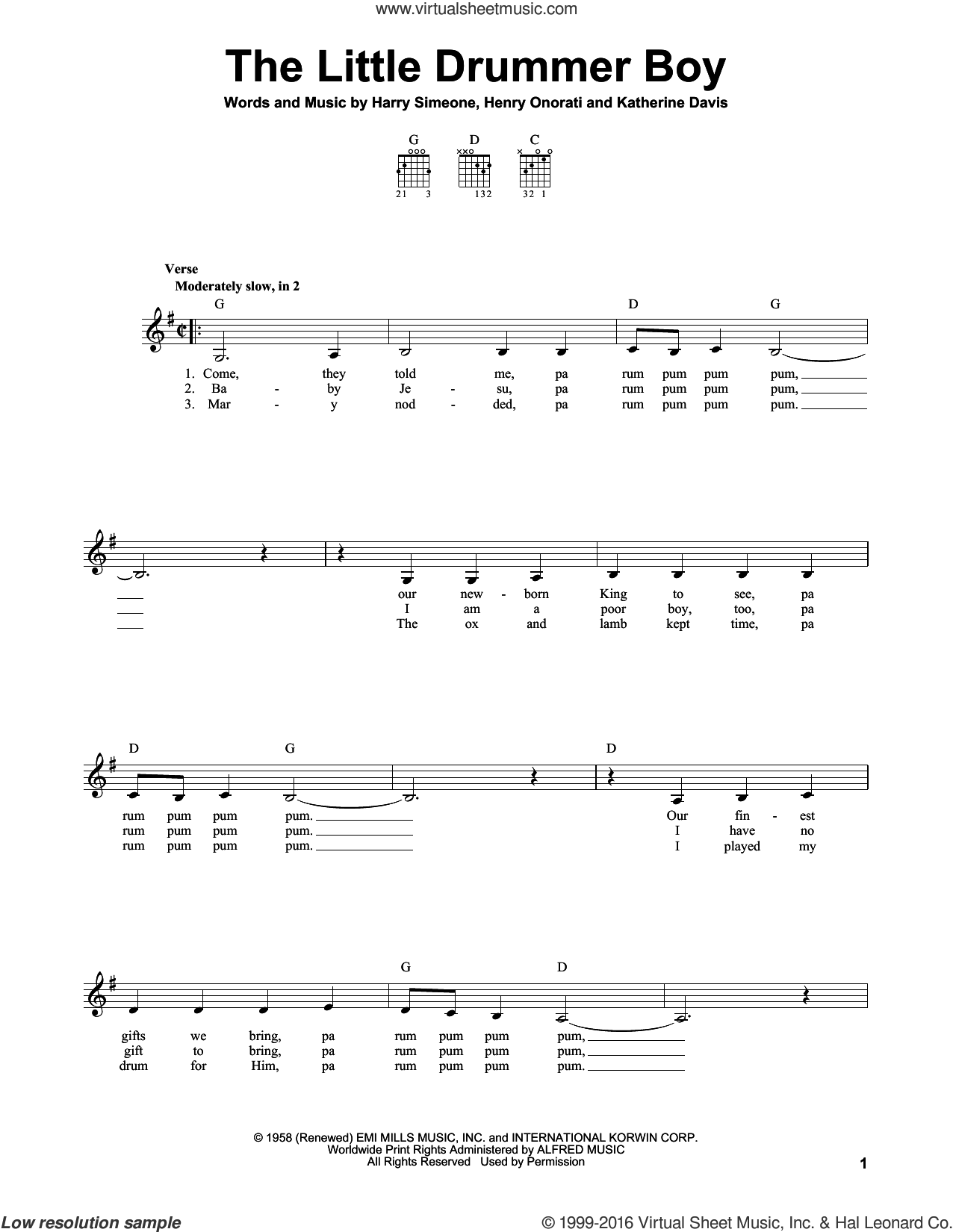The Little Drummer Boy sheet music for guitar solo (chords) by Katherine Davis, Harry Simeone and Henry Onorati. Score Image Preview.