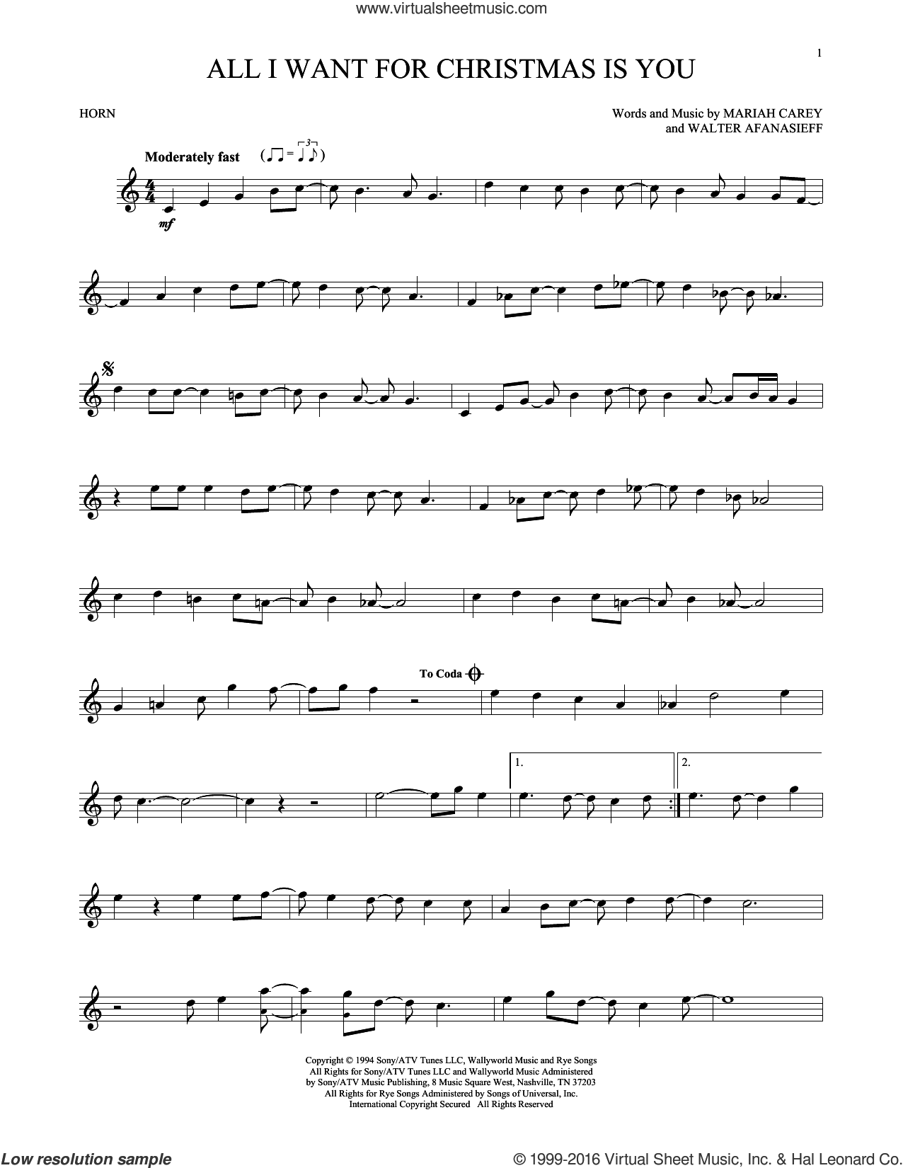 All I Want For Christmas Is You sheet music for horn solo by Mariah Carey and Walter Afanasieff, intermediate skill level