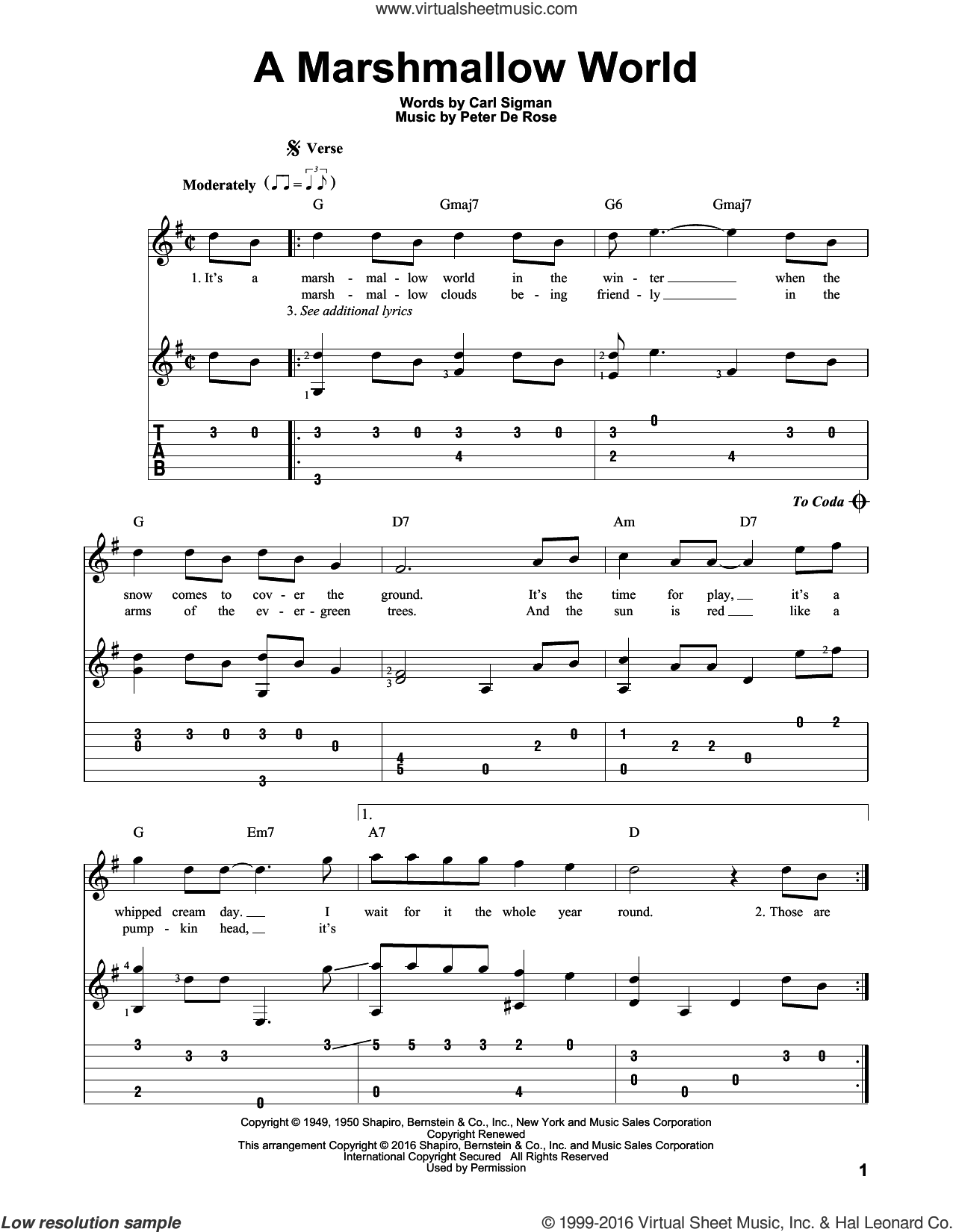 A Marshmallow World sheet music for guitar solo by Carl Sigman and Peter DeRose, Christmas carol score, intermediate guitar. Score Image Preview.