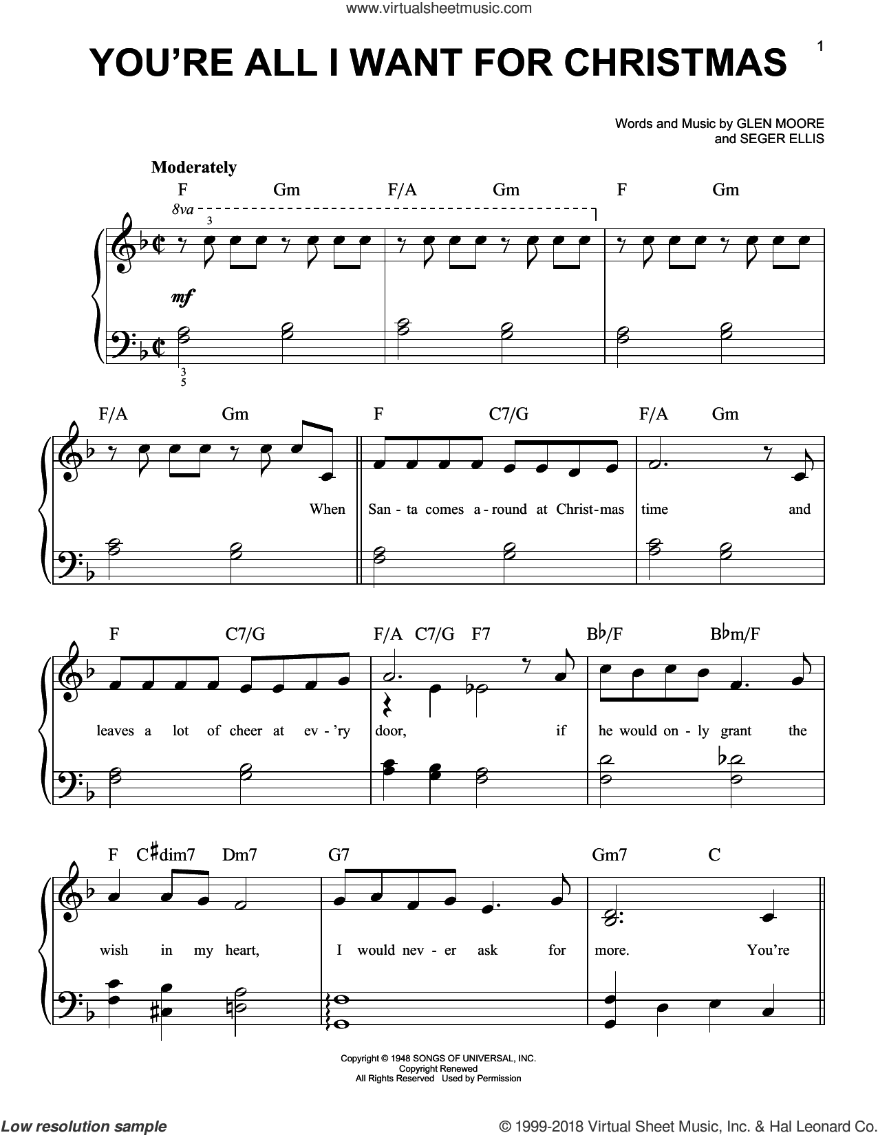 You're All I Want For Christmas sheet music for piano solo by Glen Moore and Frank Gallagher. Score Image Preview.