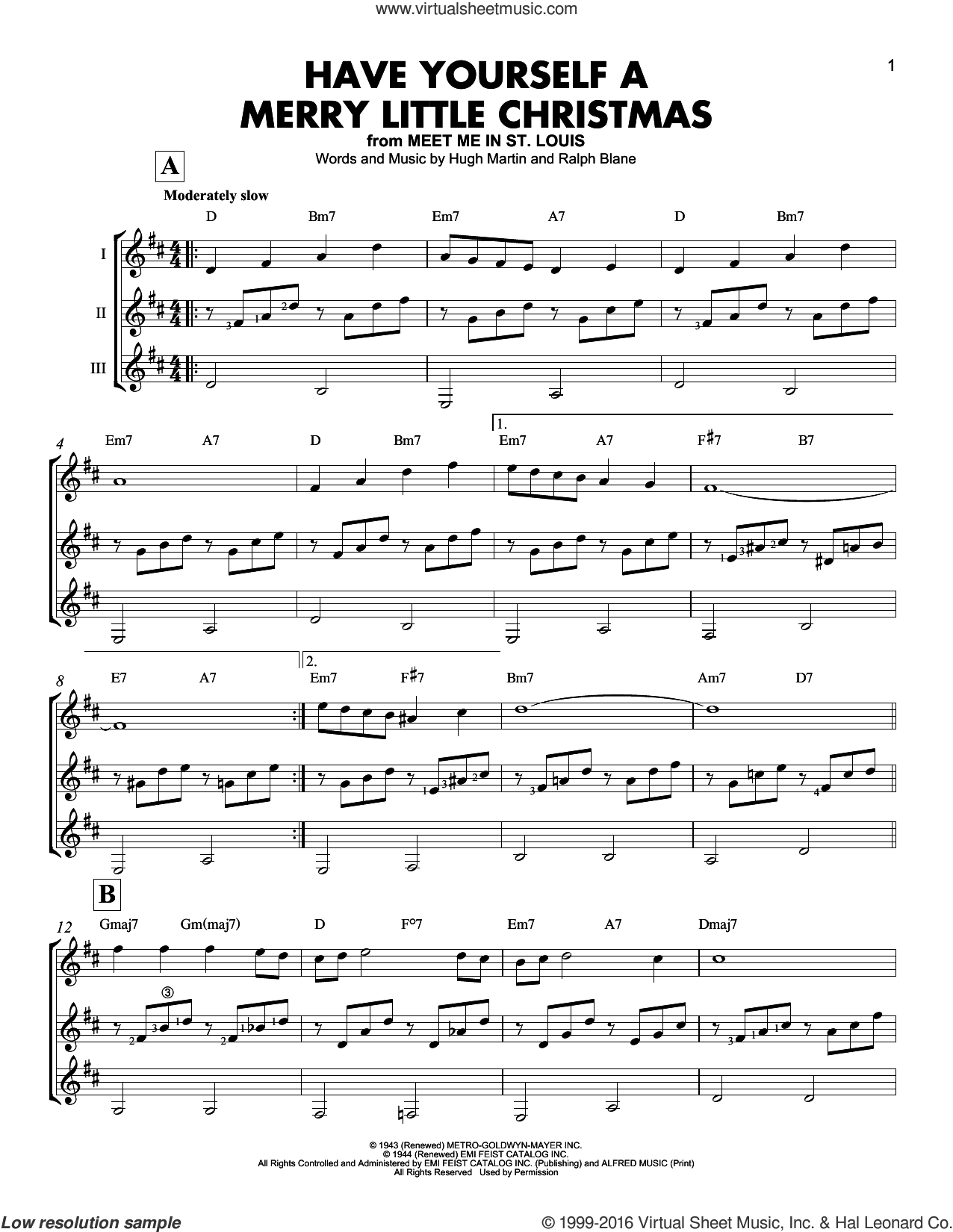 Have Yourself A Merry Little Christmas sheet music for guitar ensemble by Hugh Martin and Ralph Blane. Score Image Preview.