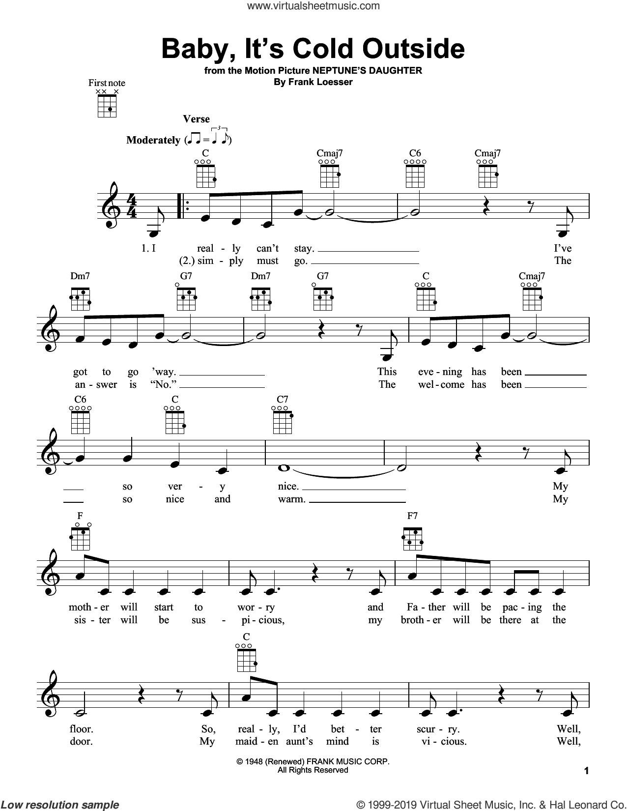 Baby, It's Cold Outside sheet music for ukulele by Frank Loesser, intermediate skill level