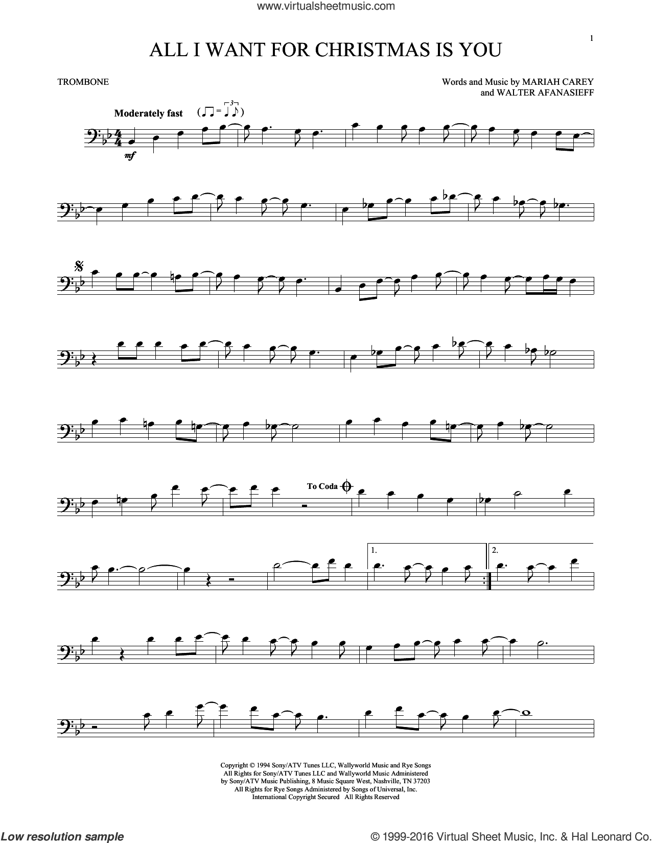 All I Want For Christmas Is You sheet music for trombone solo by Mariah Carey and Walter Afanasieff, intermediate skill level