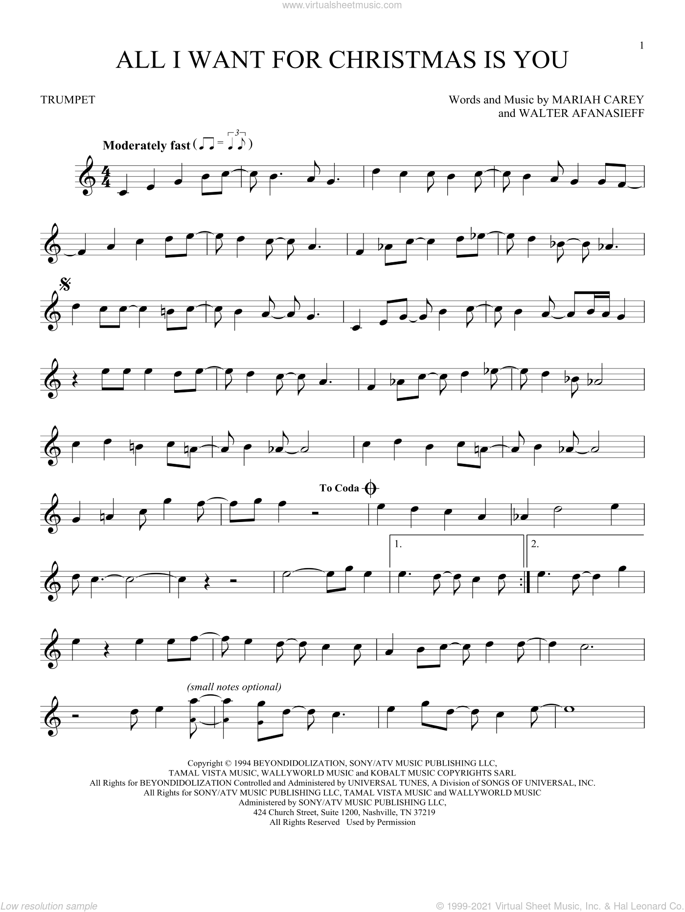All I Want For Christmas Is You sheet music for trumpet solo by Mariah Carey and Walter Afanasieff, intermediate skill level