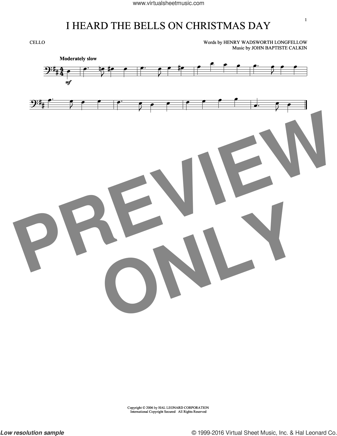 I Heard The Bells On Christmas Day sheet music for cello solo by John Baptiste Calkin, Johnny Marks and Henry Wadsworth Longfellow. Score Image Preview.