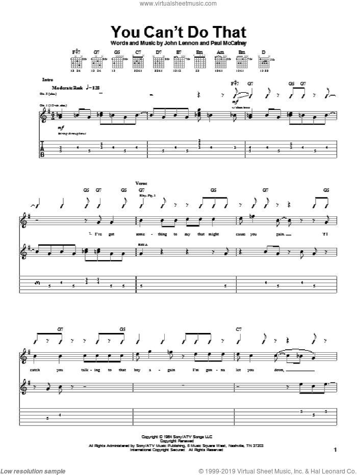 You Can't Do That sheet music for guitar (tablature) by The Beatles, John Lennon and Paul McCartney, intermediate guitar (tablature). Score Image Preview.